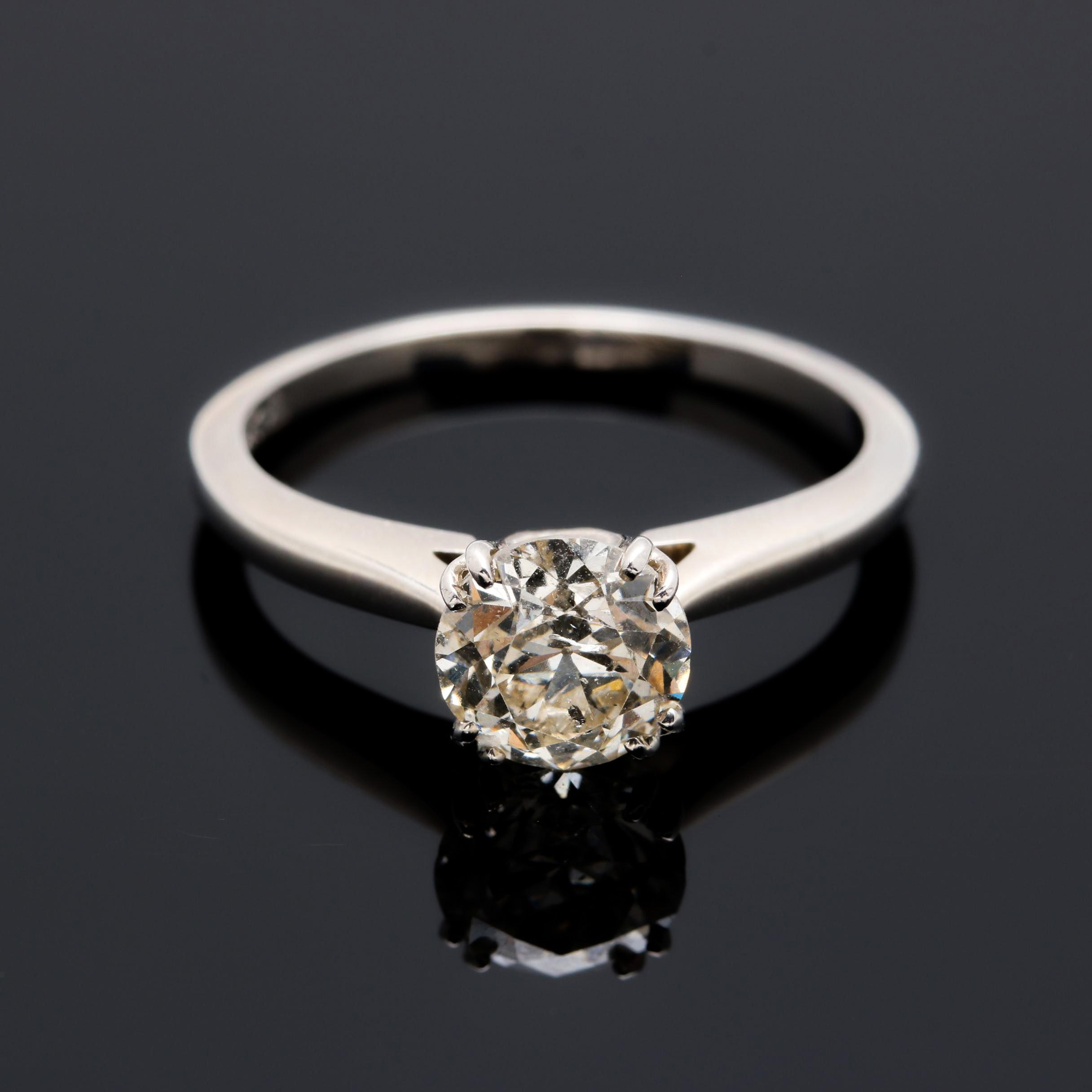 14K White Gold 1.28 CT Diamond Solitaire Ring
