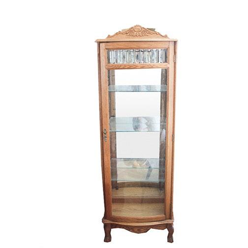 Victorian Style Oak Curio Cabinet