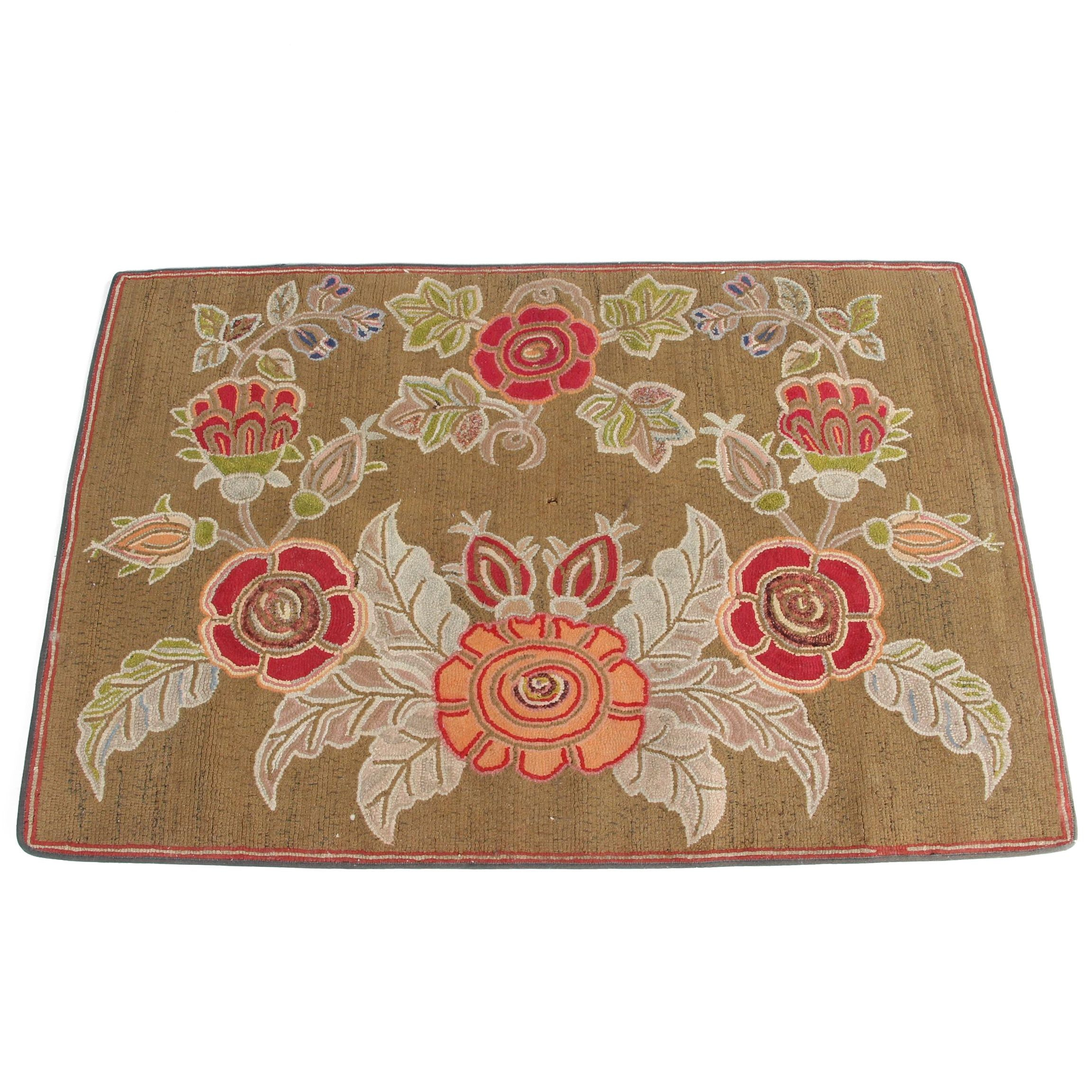 Vintage Hand-Hooked Arts and Crafts Style Floral Wool Accent Rug