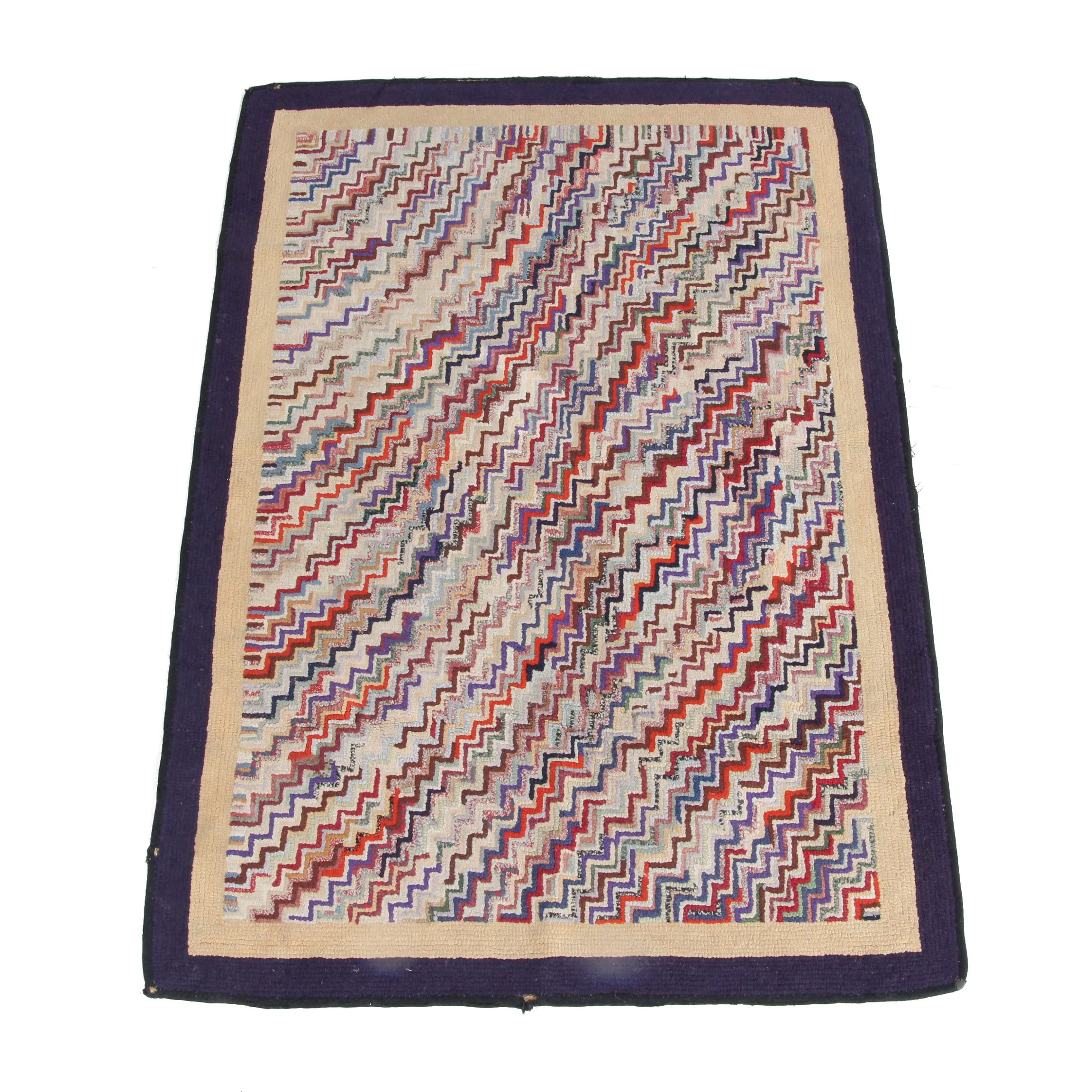 Vintage Hand-Hooked Abstract Wool Accent Rug