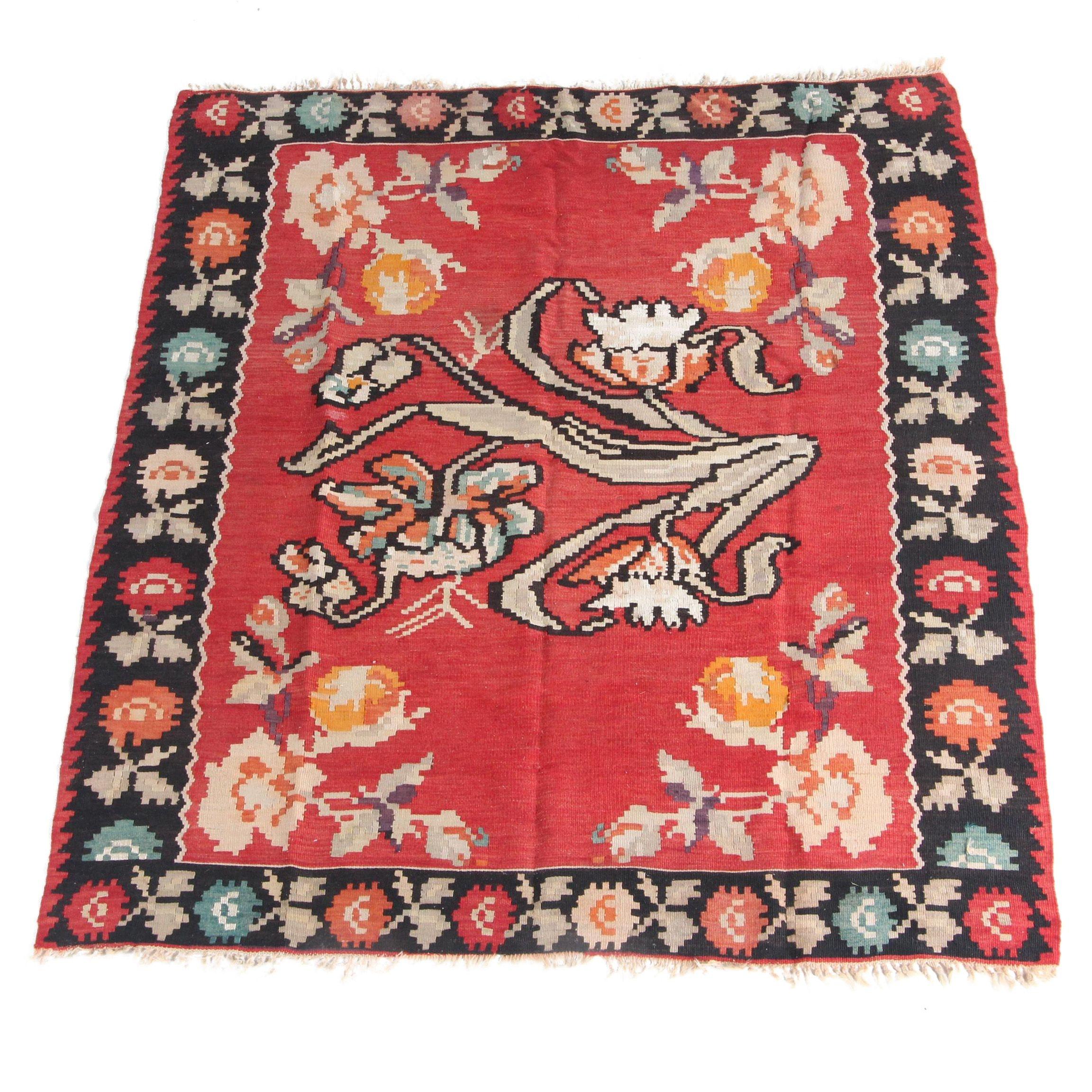 Vintage Handwoven Bessarabian Wool Kilim