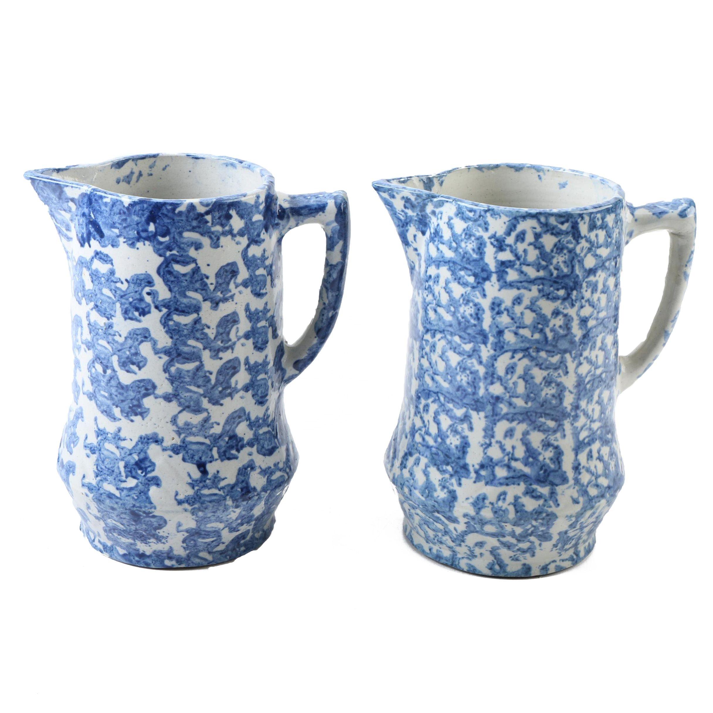 Vintage Blue Stoneware Spongeware Pitchers