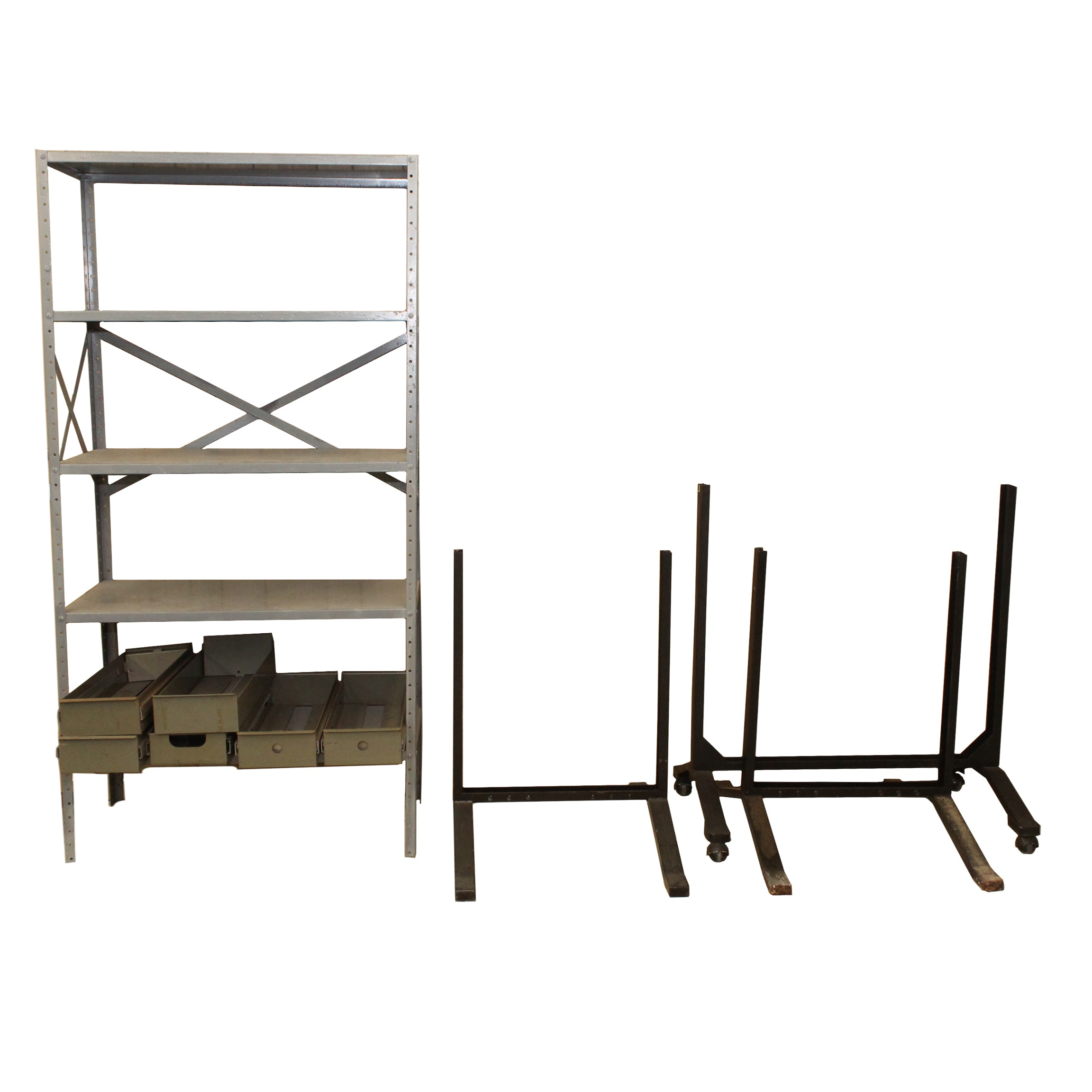 Metal Drawers and Shelving Unit