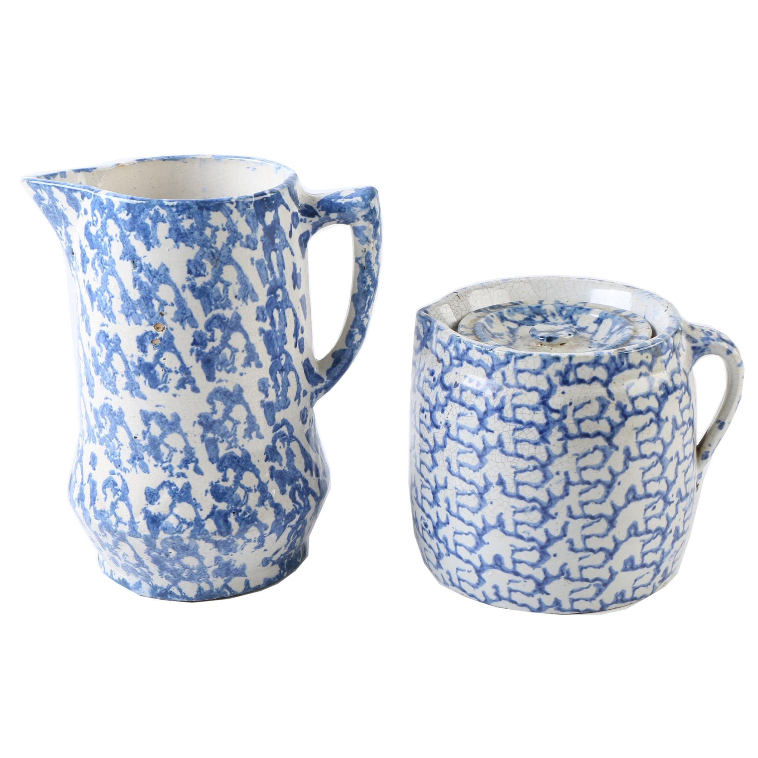 Vintage Blue Stoneware Spongeware Tableware