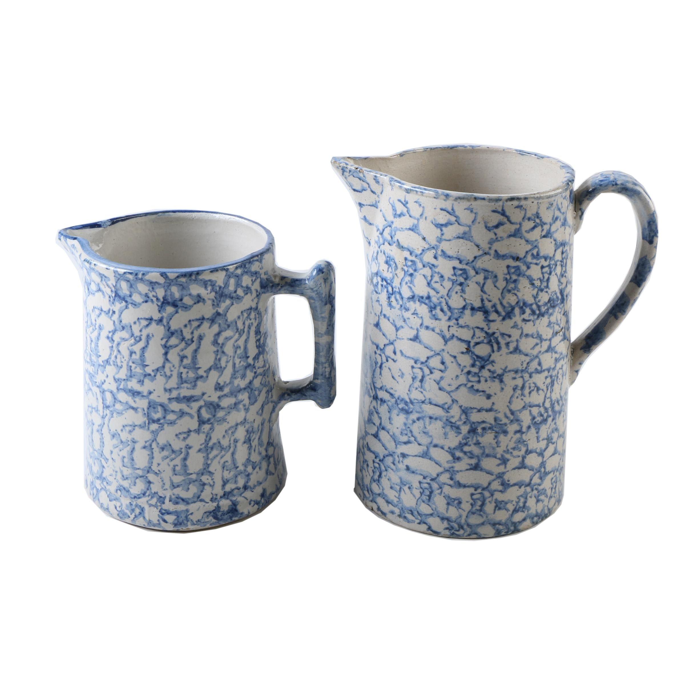 Vintage Stoneware Spongeware Pitchers