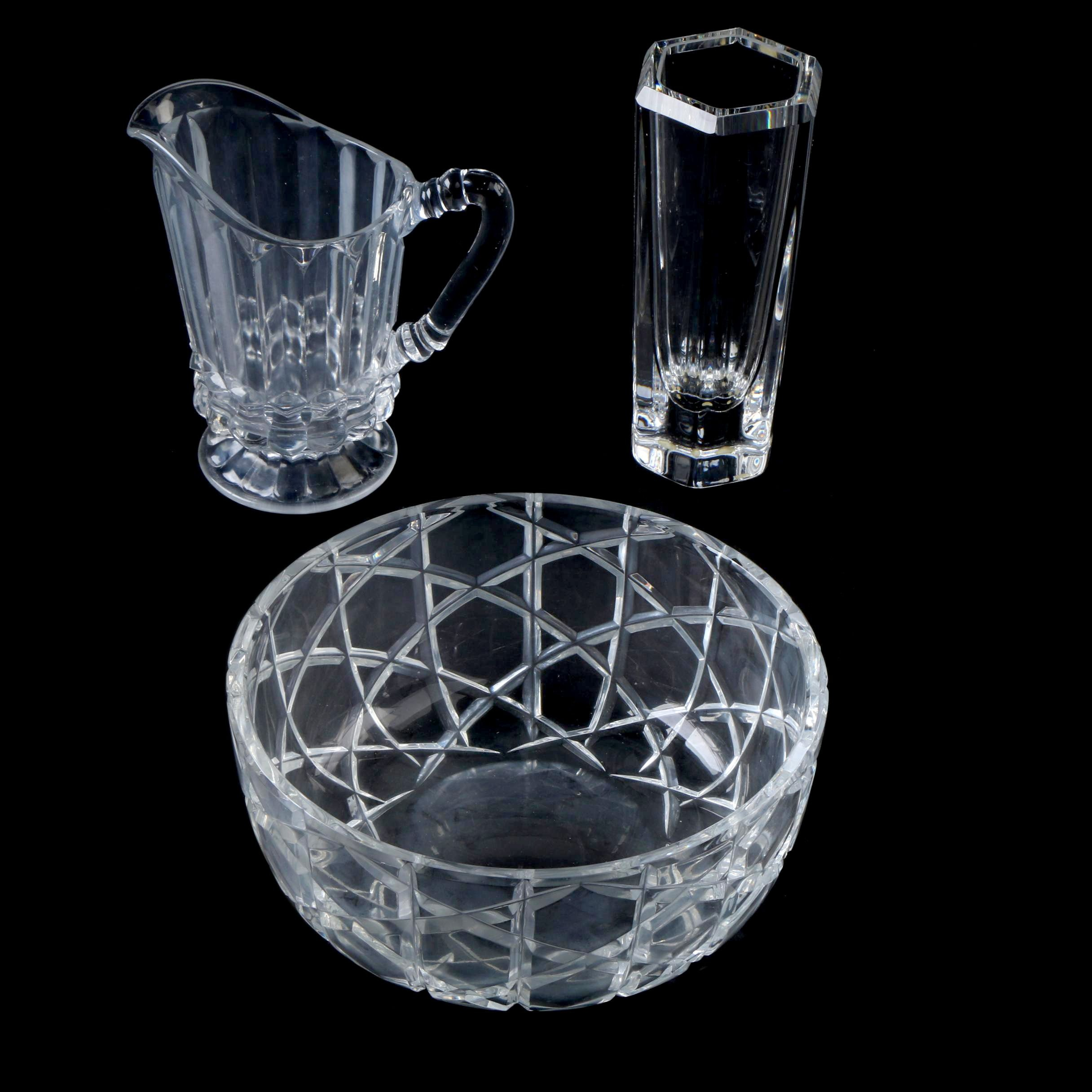 Kosta Vase and Other Glass Tableware Items