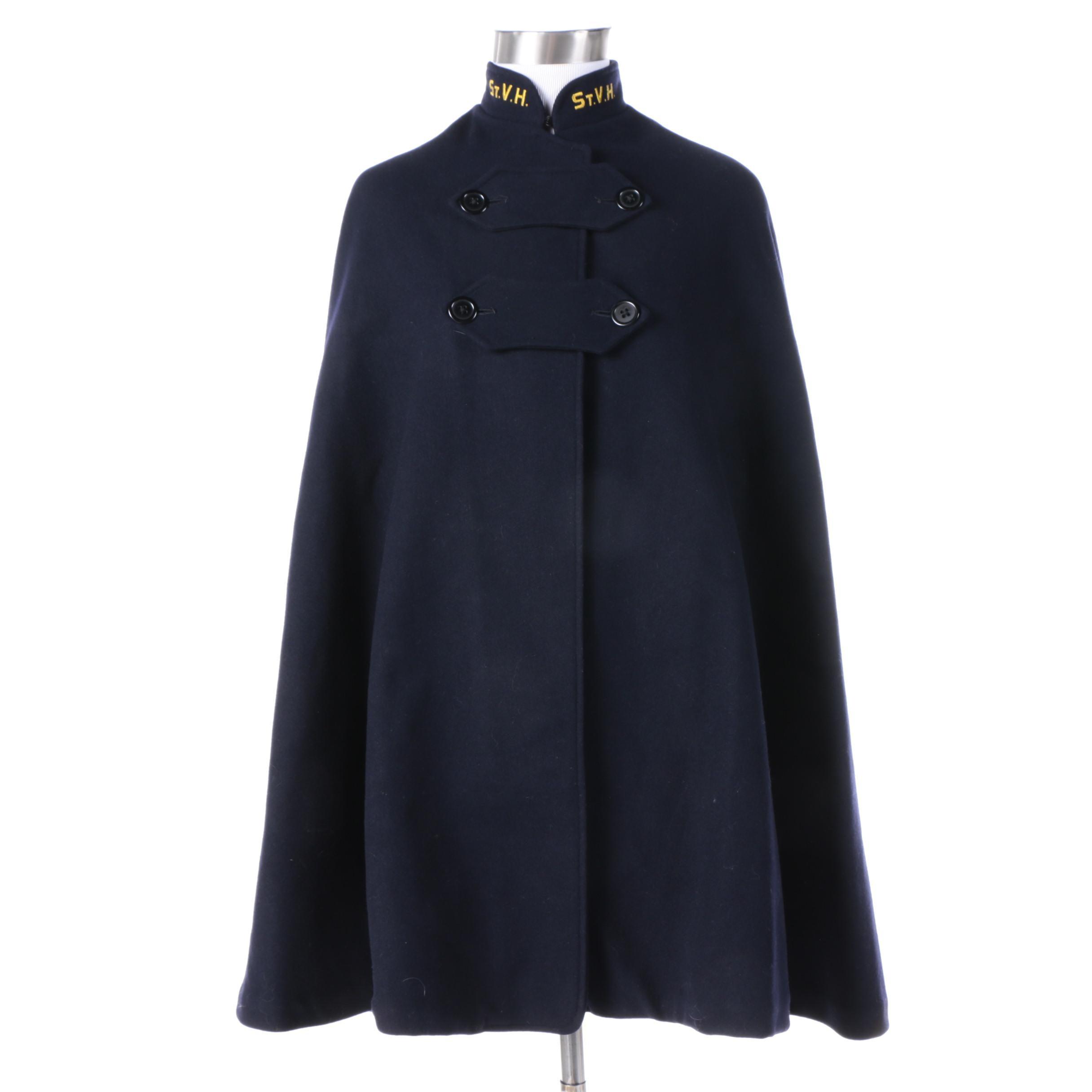 Vintage Snowhite Garment Mfg. Uniform Navy Blue Wool Cape