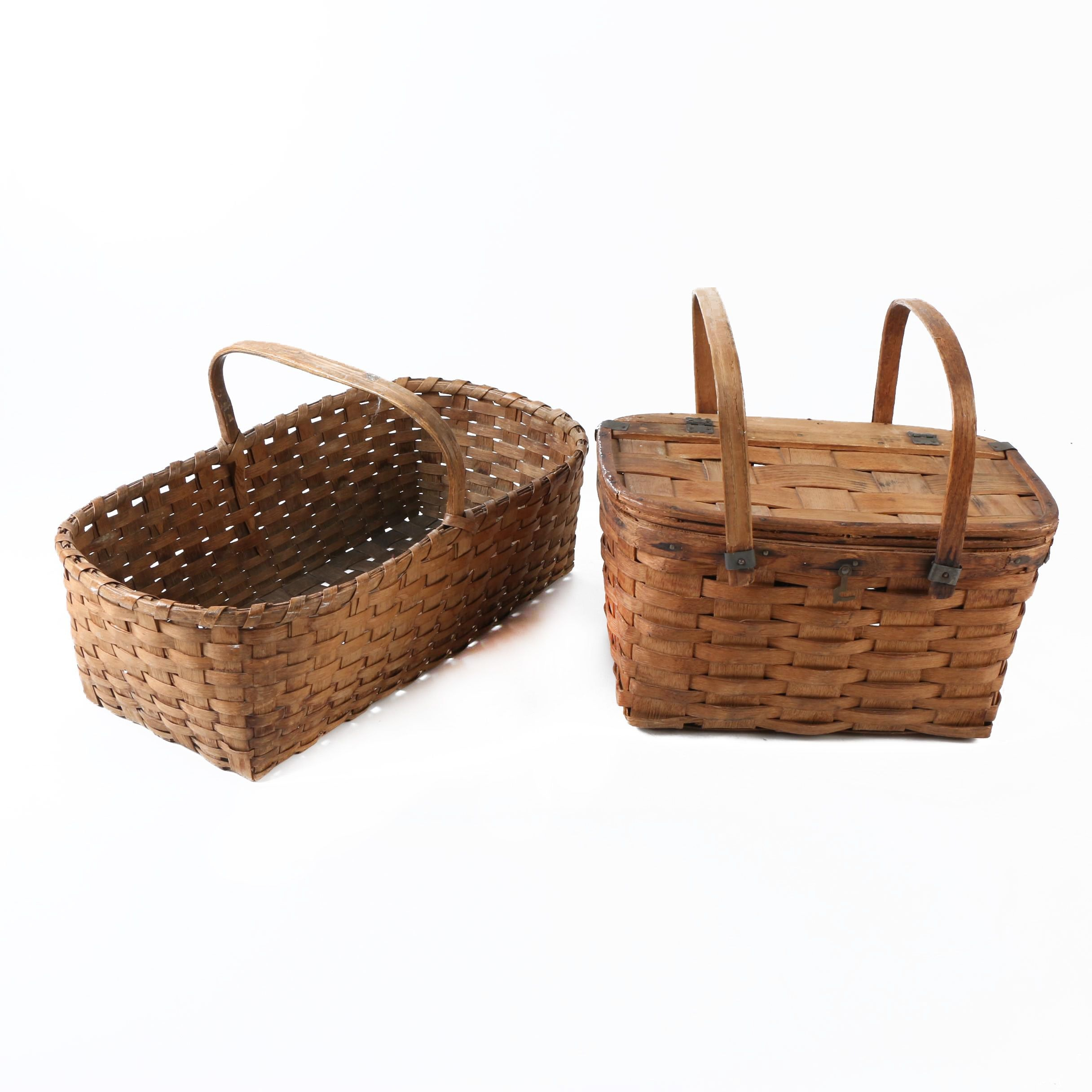 Vintage Woven Picnic Style Baskets with Handles