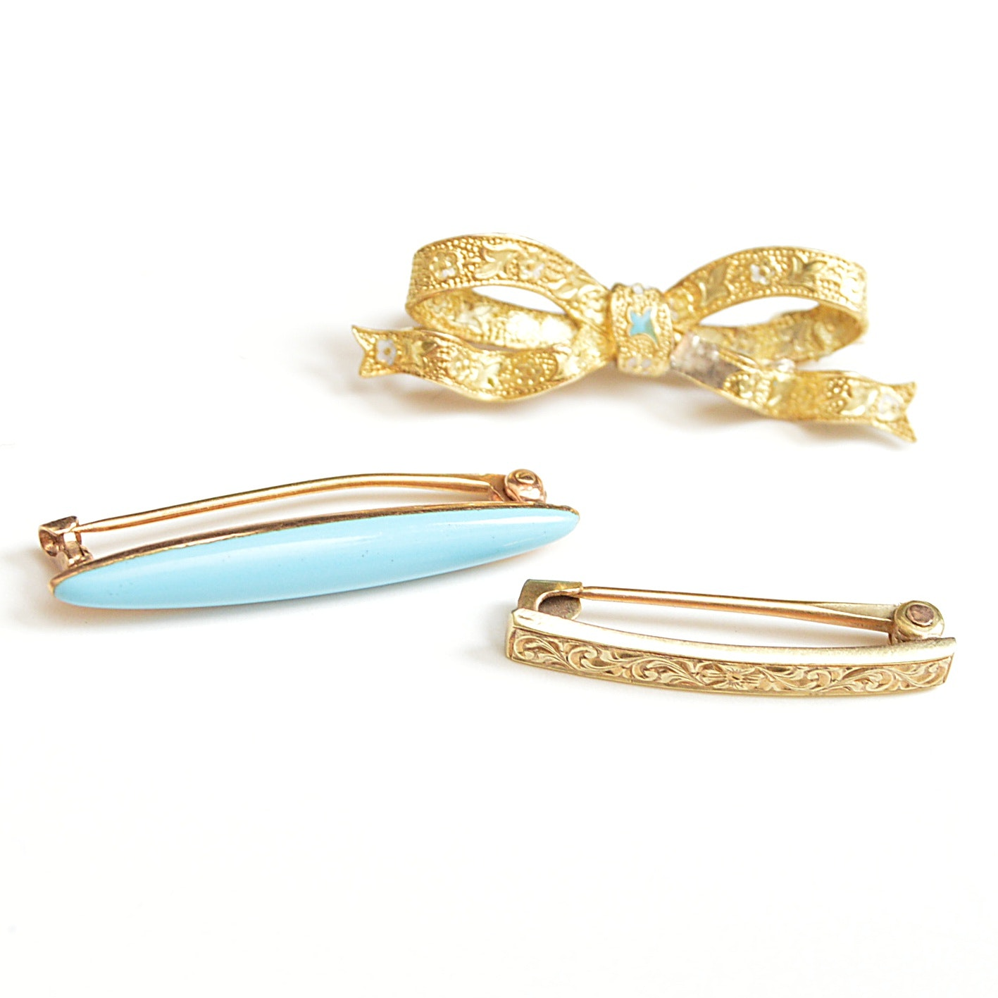 Art Nouveau 14K Yellow Gold and Enamel Lingerie Brooches