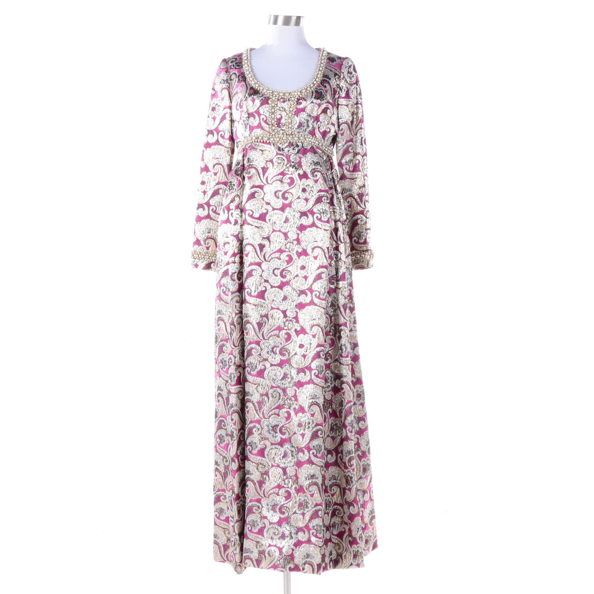 Vintage Joan Leslie by Kasper Embellished Brocade Empire Waist Gown