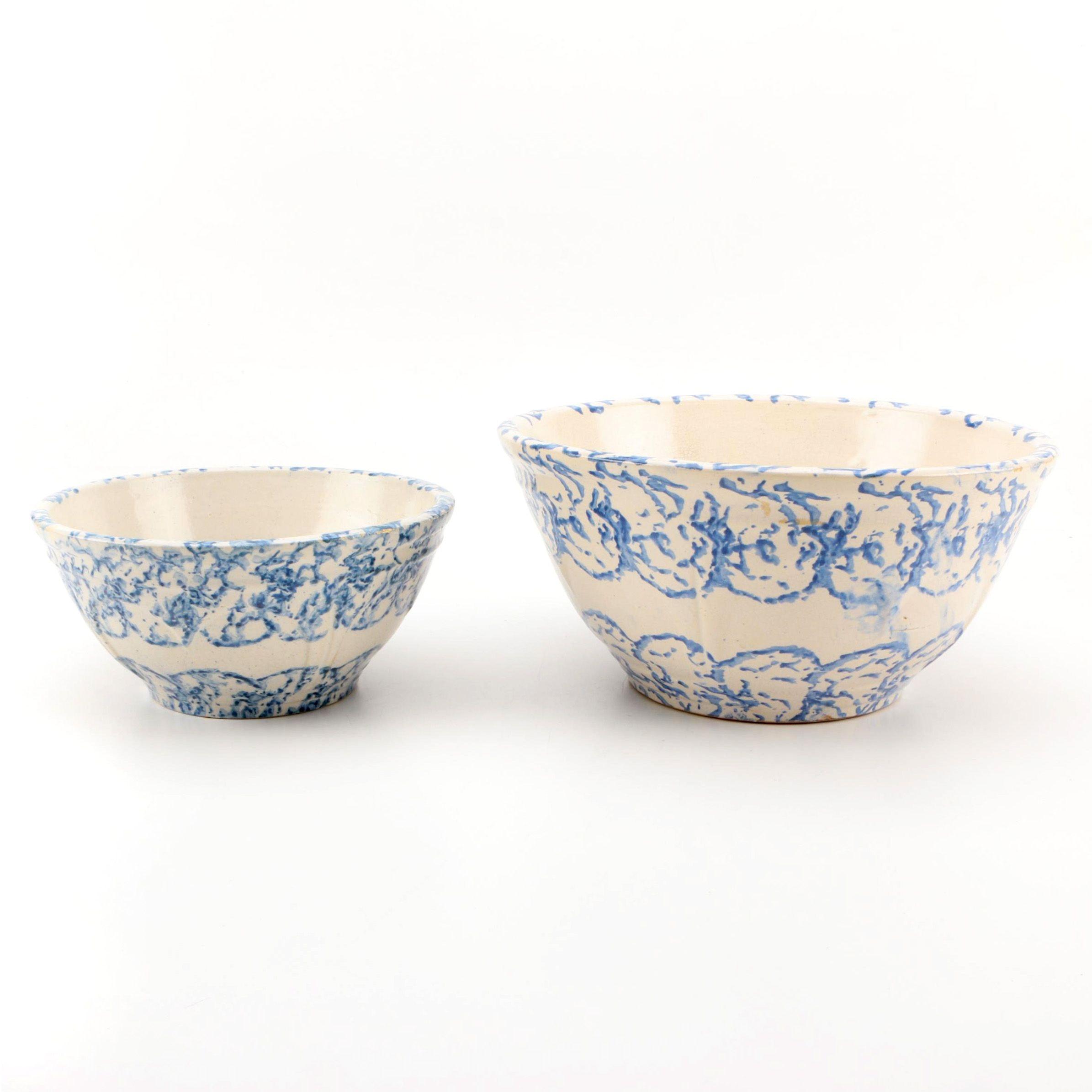 Vintage Spongeware Stoneware Bowls