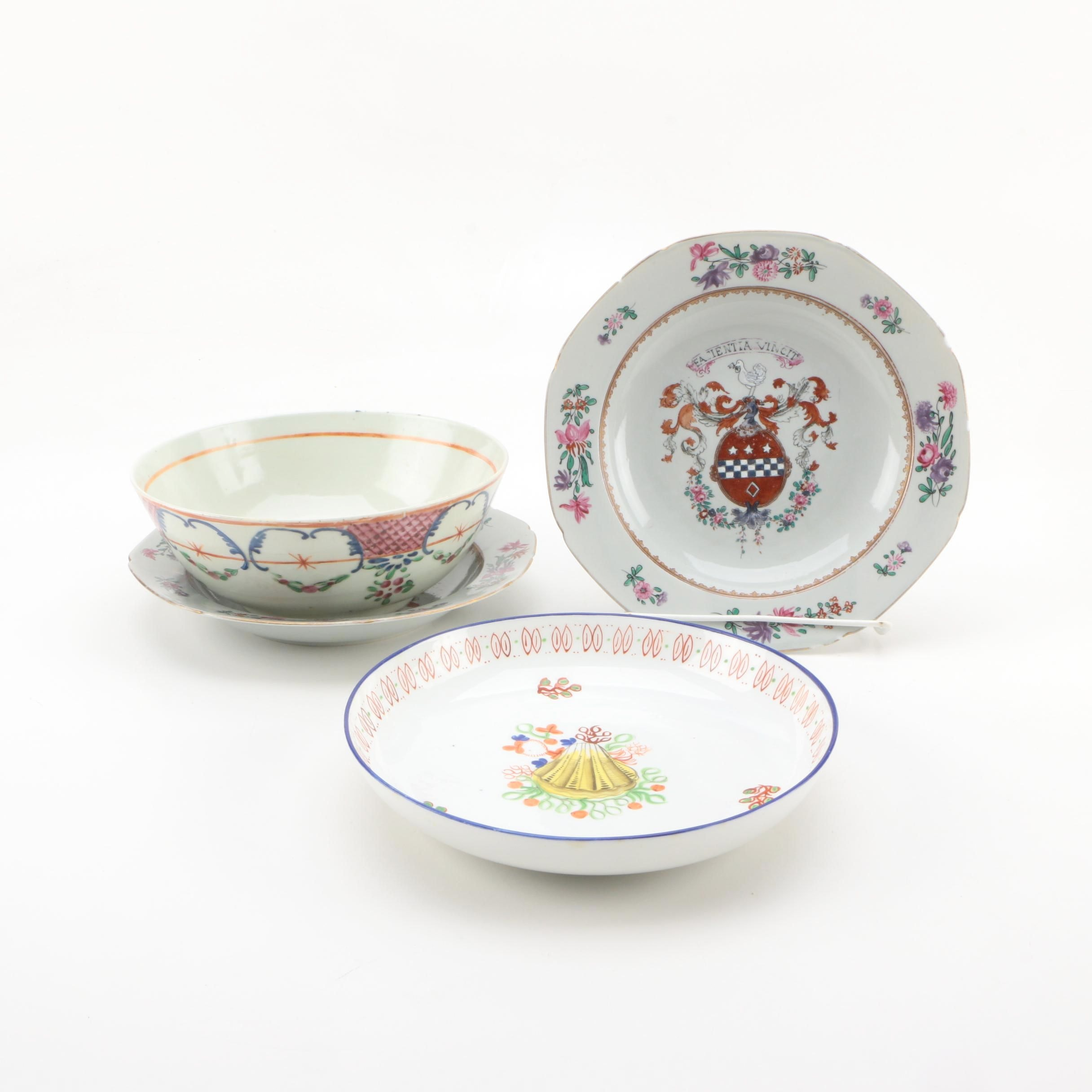 18th Century Chinese Armorial Plates and Other Antique Bowls