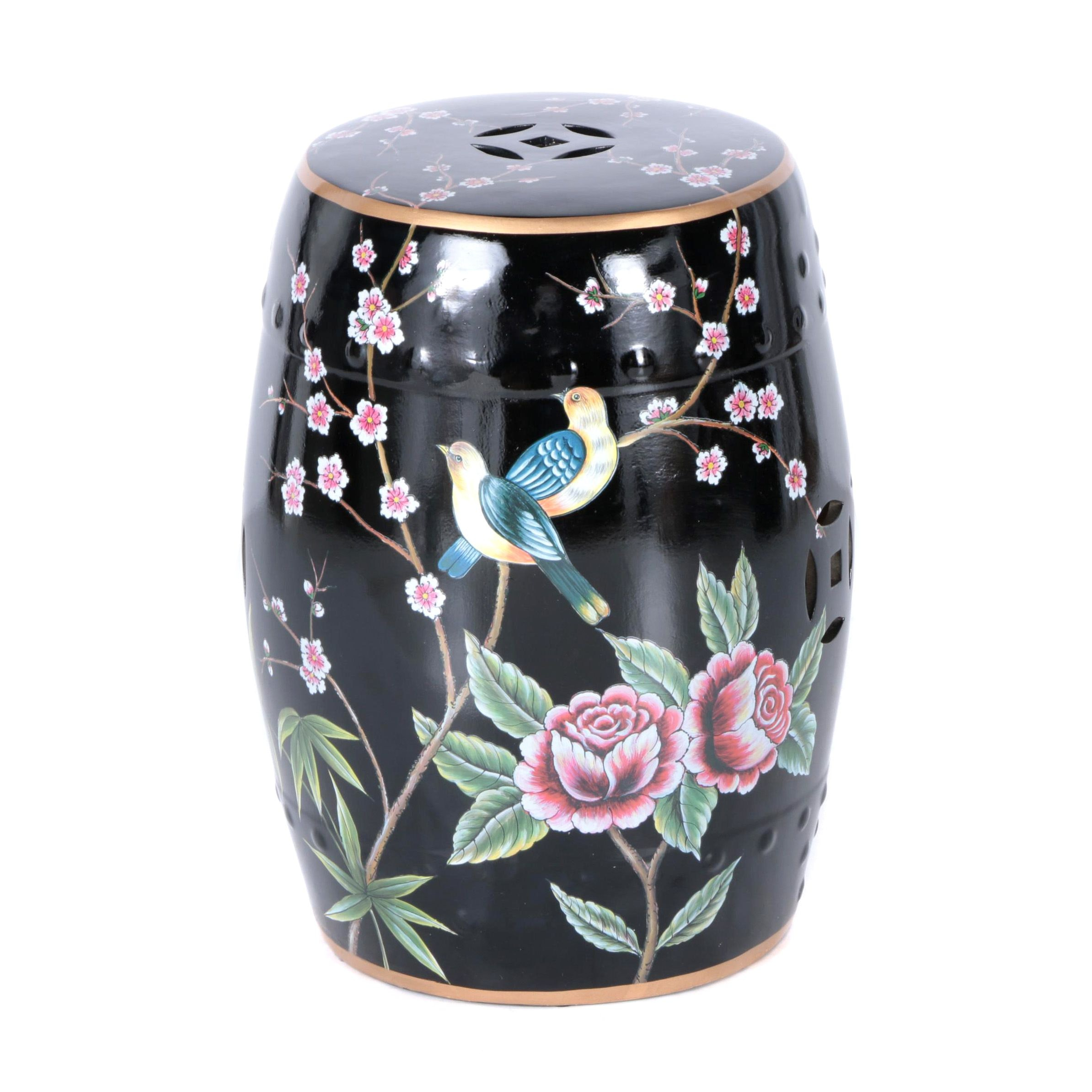 Floral Themed Black Ceramic Garden Stool