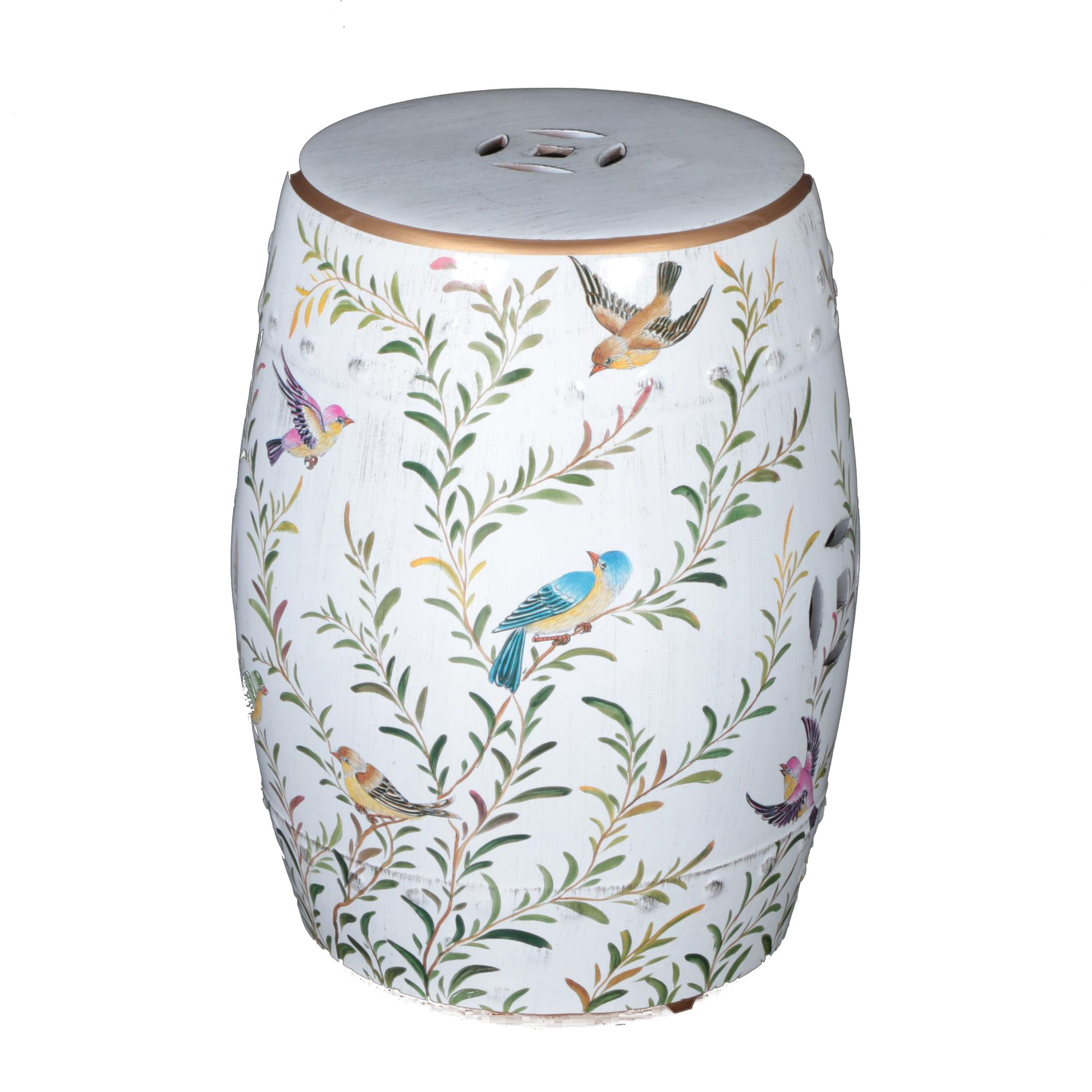 Bird Themed Ceramic Garden Stool