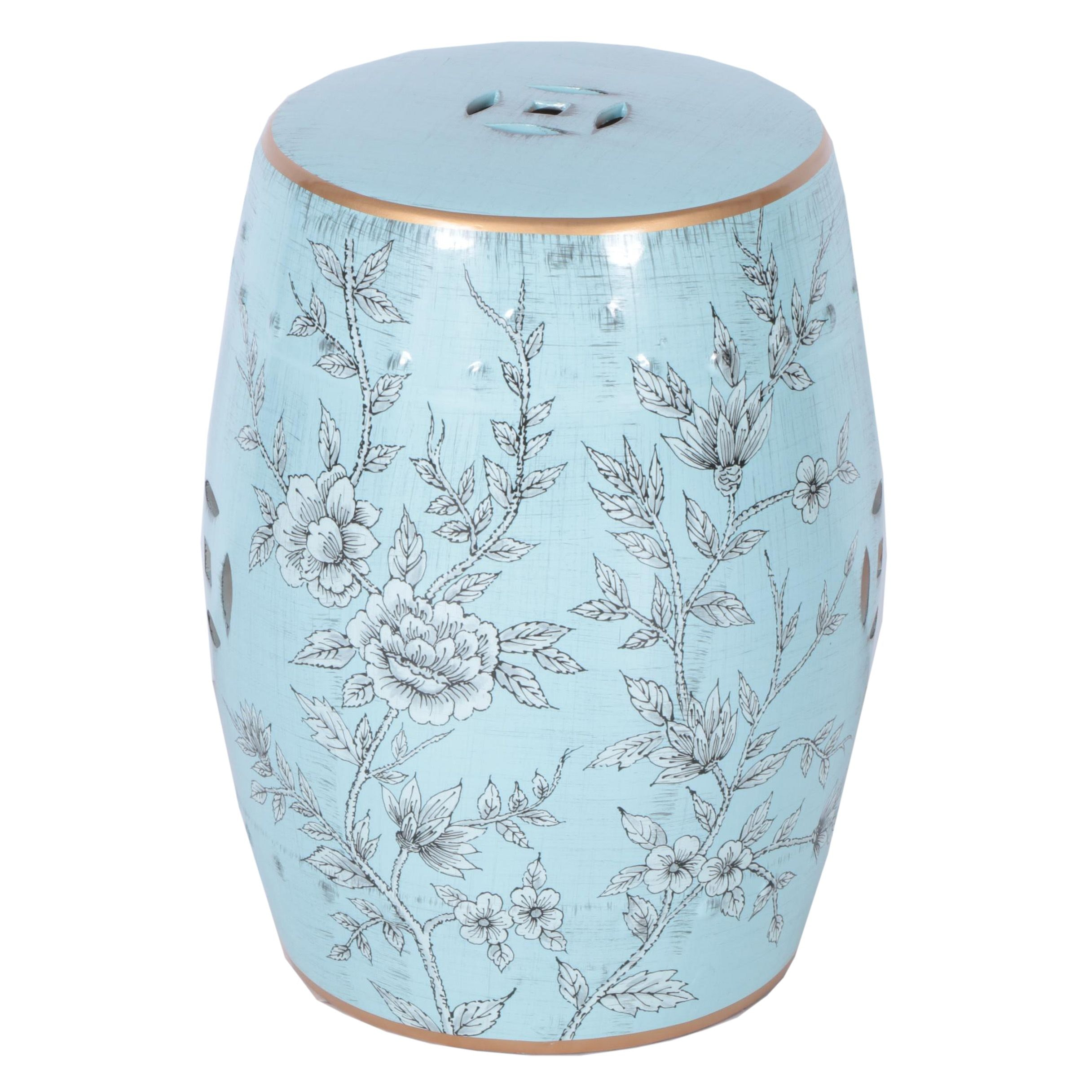 Blue Floral Themed Ceramic Garden Stool