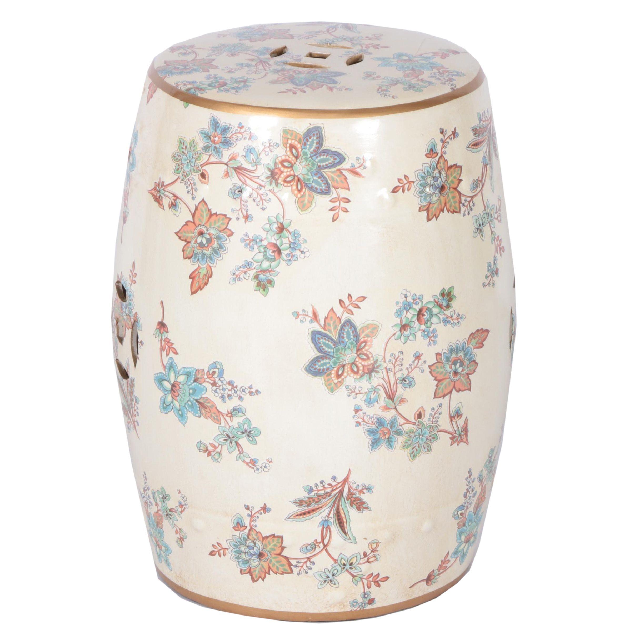 Light Pink Floral Ceramic Garden Stool