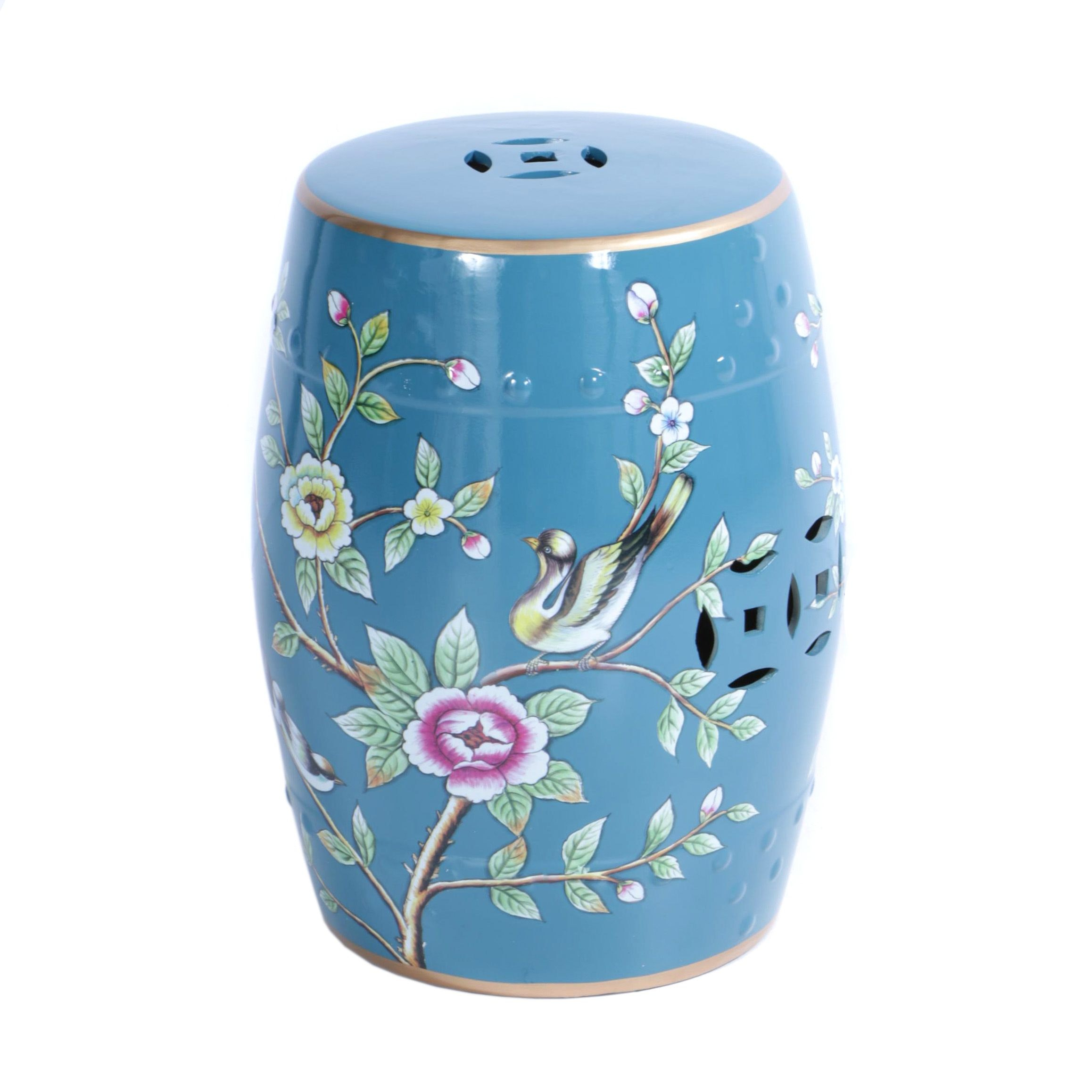 Floral Themed Blue Ceramic Garden Stool With Bird Accents