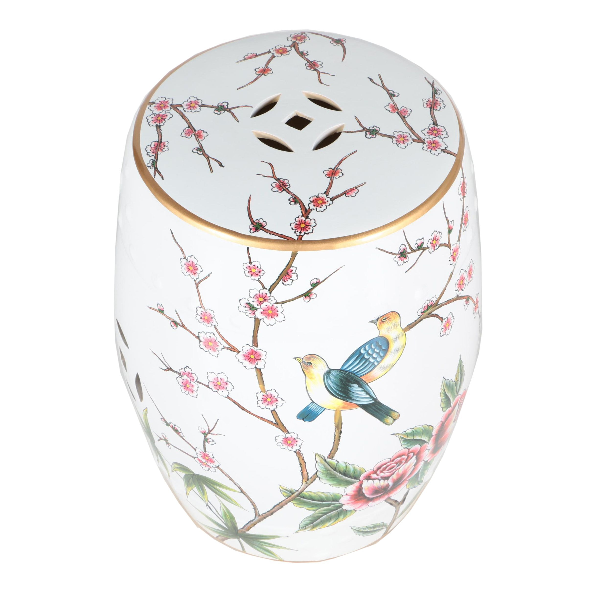 Cherry Blossom and Bird Themed Ceramic Garden Stool