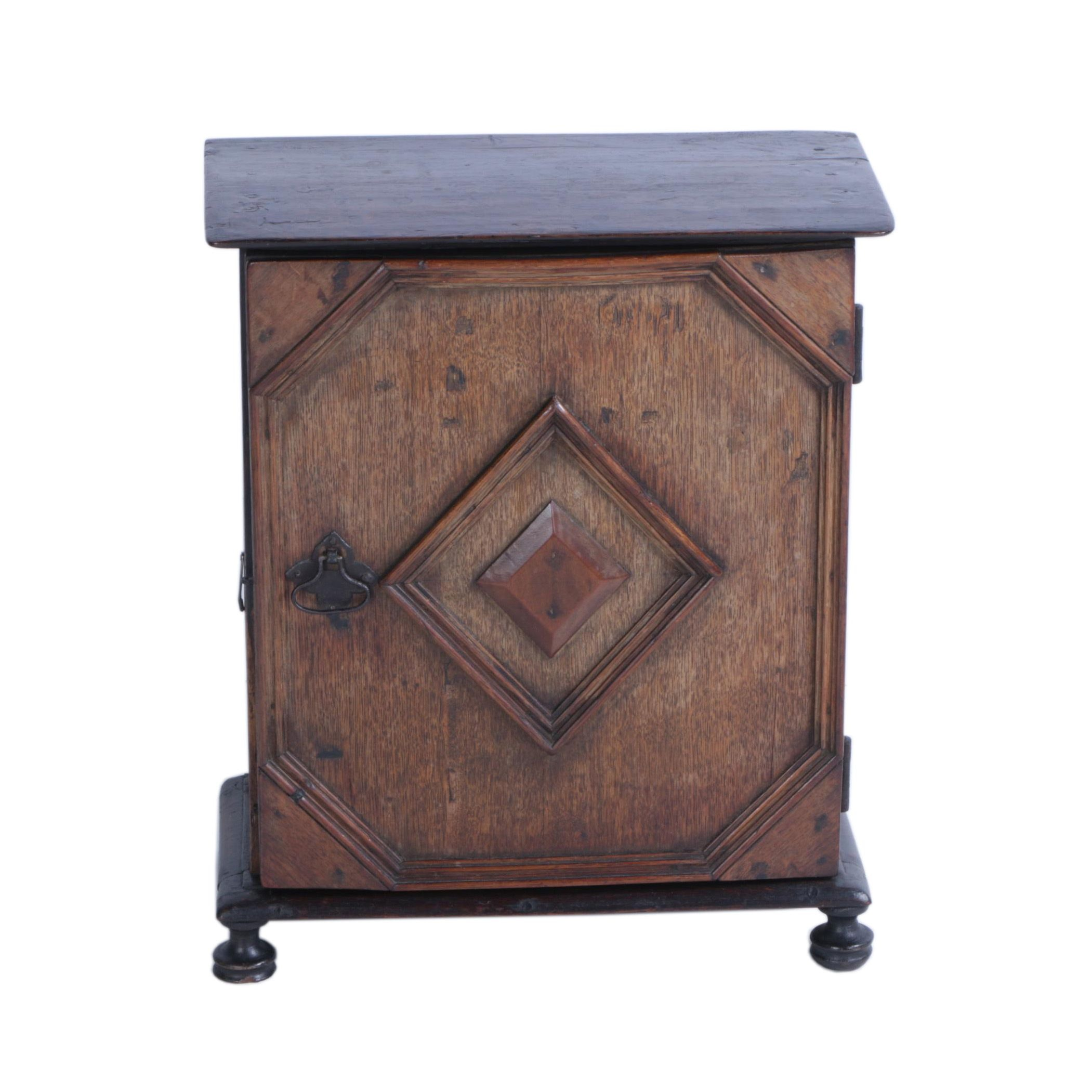 Antique William & Mary Style Oak Spice Chest, Circa 1700