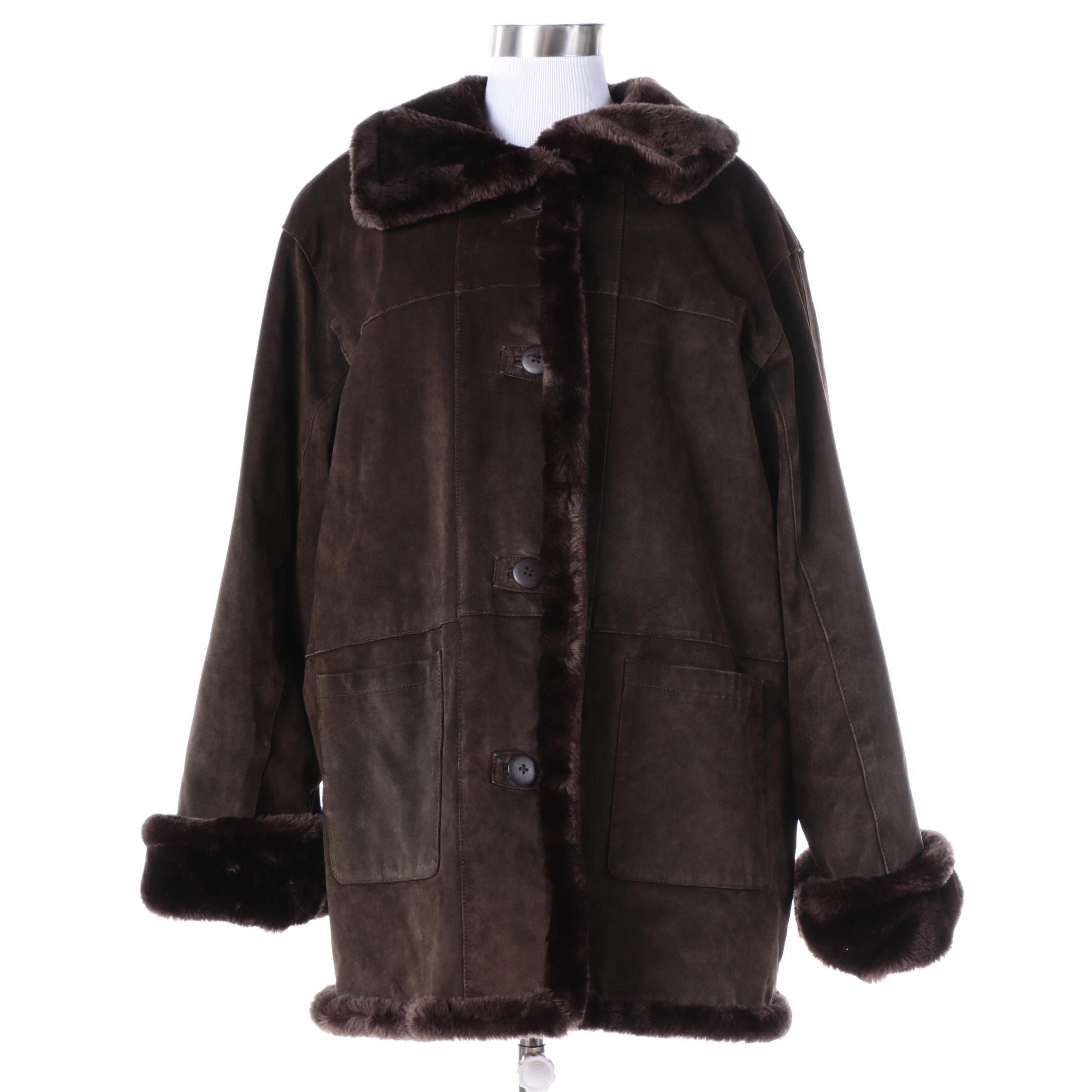 Women's Savannah Brown Leather and Faux Fur Coat