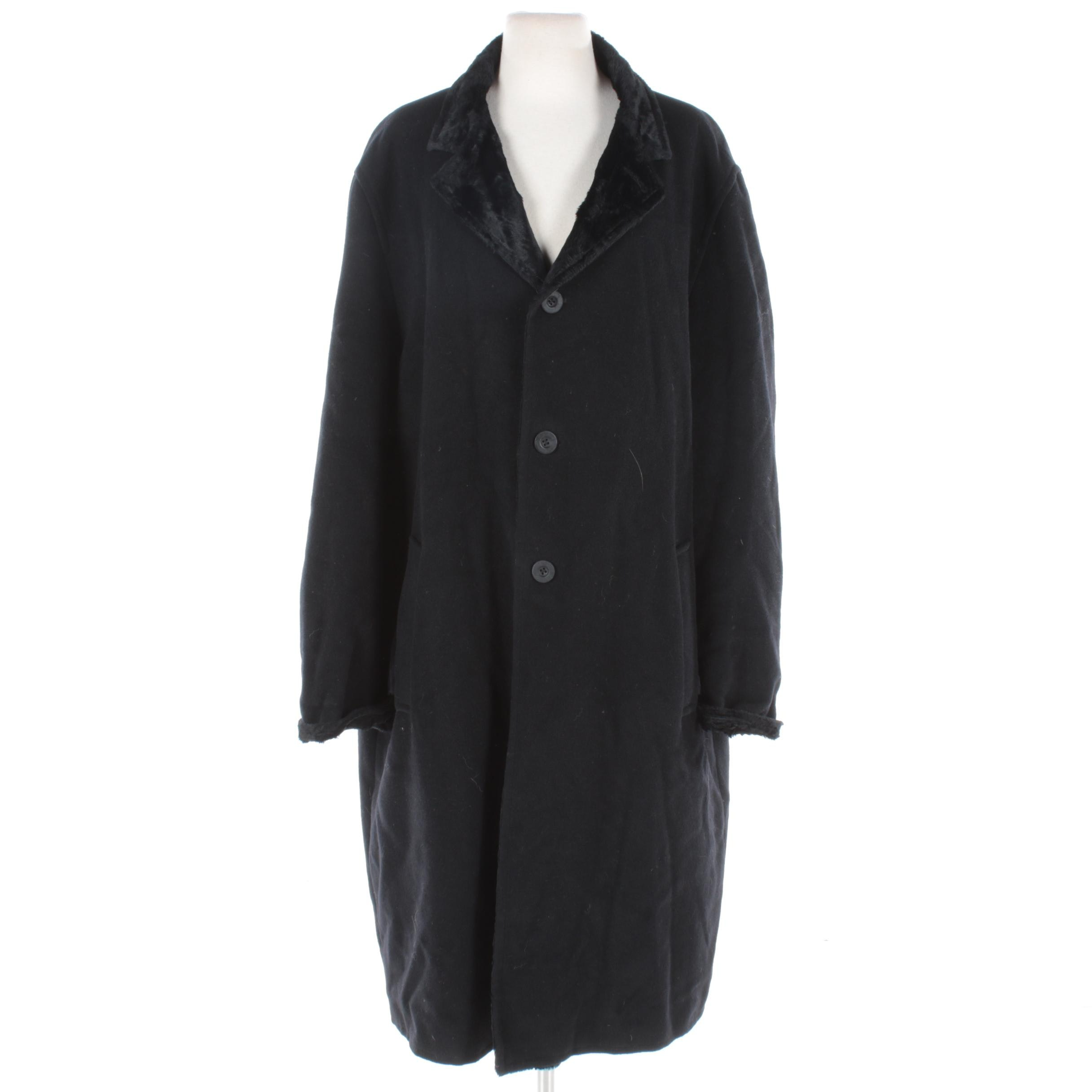 Men's Sabato Russo Black Wool and Faux Shearling Coat