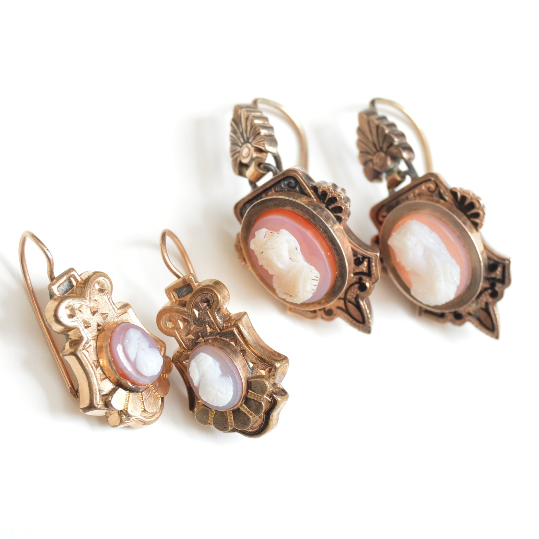 Victorian 10K Yellow Gold and Agate Cameo Pierced Earrings