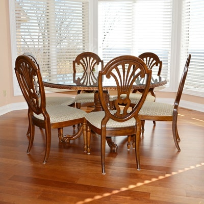 chippendale style dining table and hepplewhite style shield back dining chairs vintage dining furniture auction   antique dining furniture for      rh   ebth com