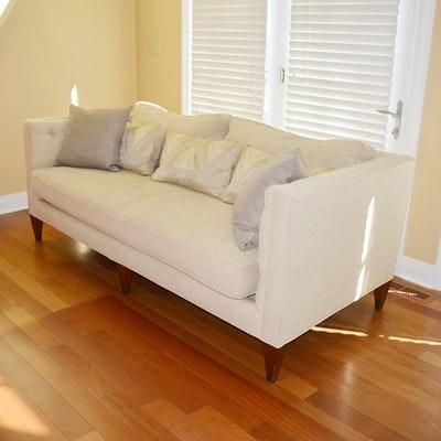 Oatmeal Twill Upholstered Tuxedo Sofa by Hickory White