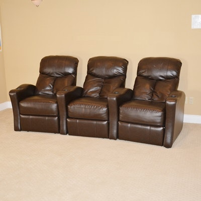 Home Theater Brown Faux Leather Recliners