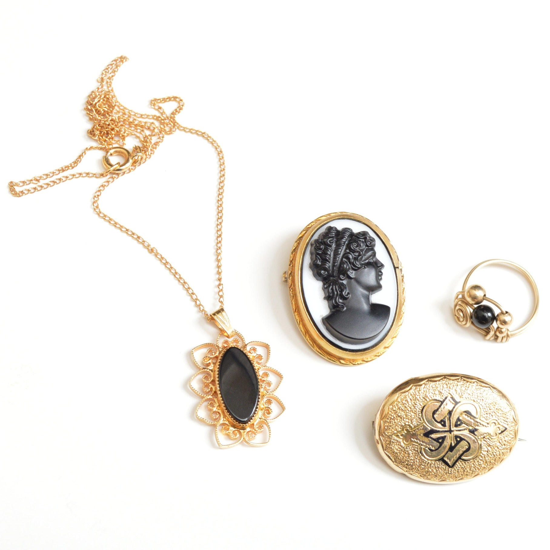 Antique Ring, Necklace and Brooches with Victorian Black Onyx Cameo Brooch