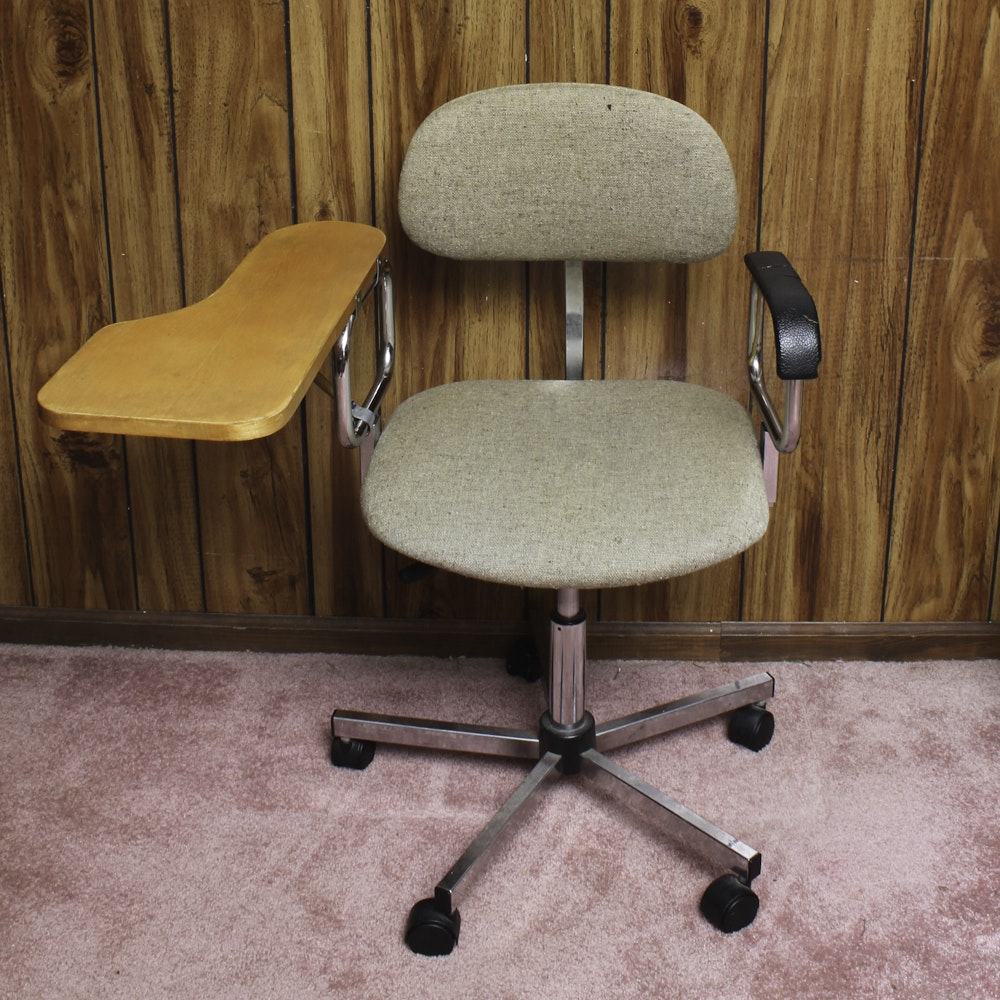 Mid-Century Office Chair with Writing Arm
