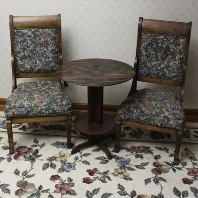 Pair of Antique Birch Side Chairs with Tiered Table - Online Furniture Auctions Vintage Furniture Auction Antique