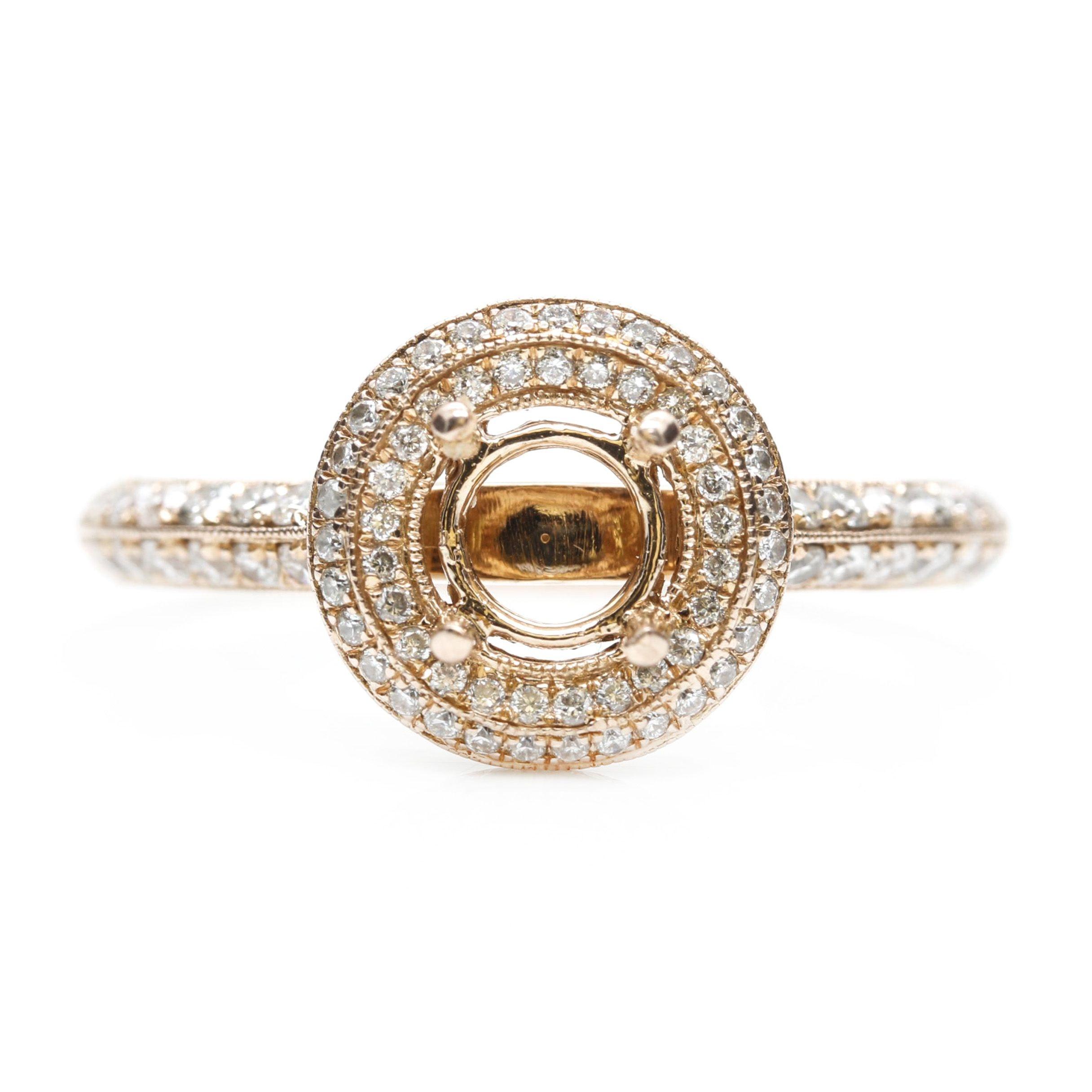 Gabriel & Co. 14K Rose Gold Diamond Semi-Mount Ring