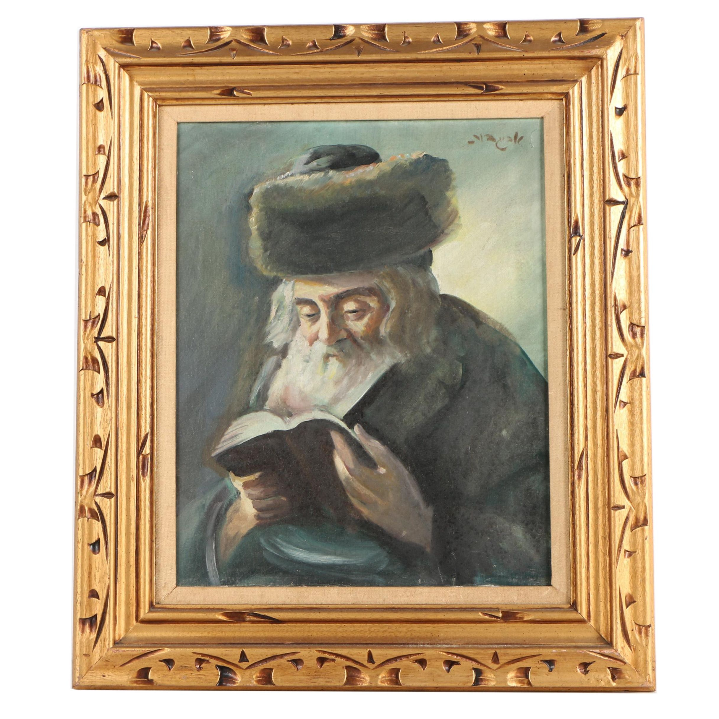 Oil Painting of a Man with Shtreimel
