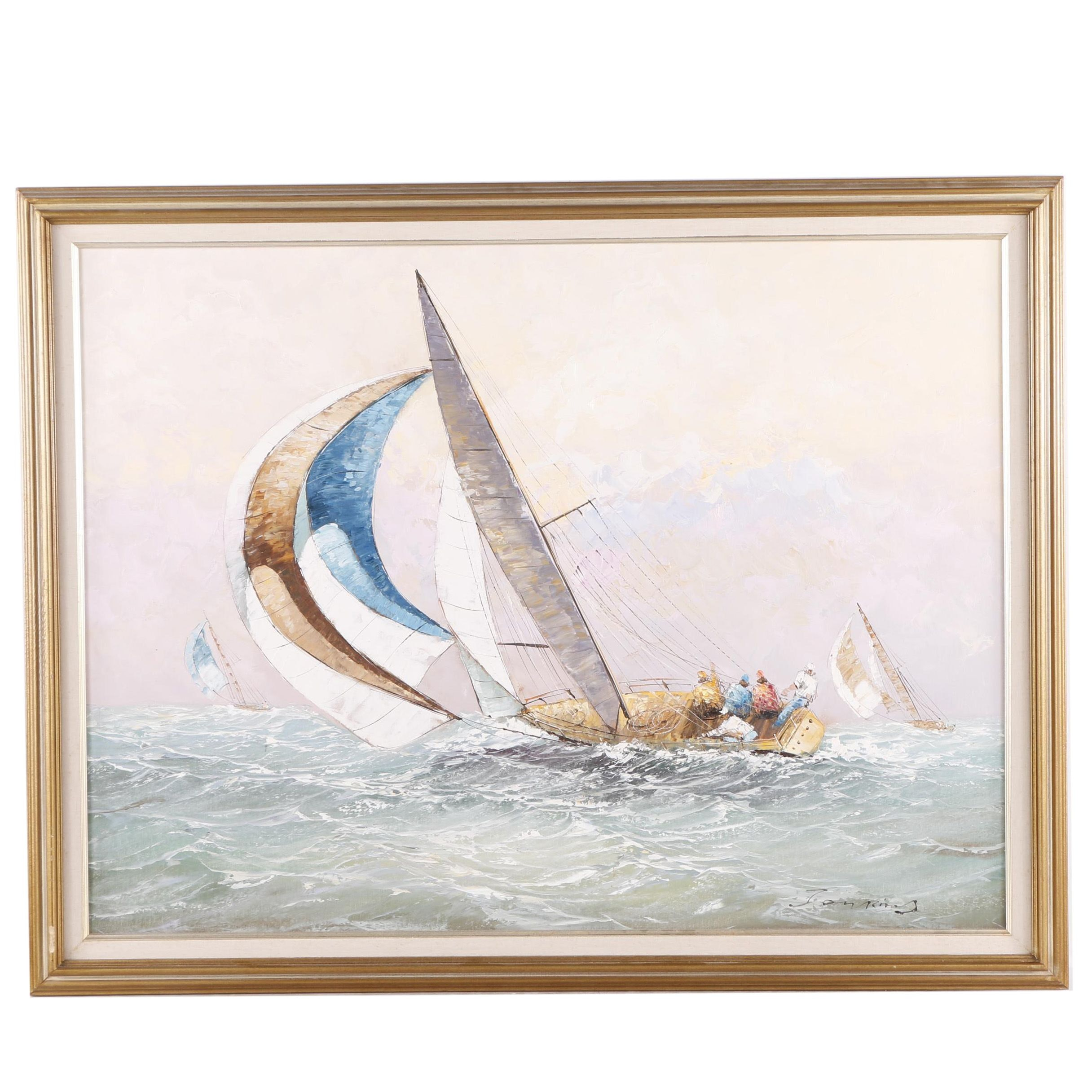 Jenkins Signed Nautical Oil Painting on Canvas