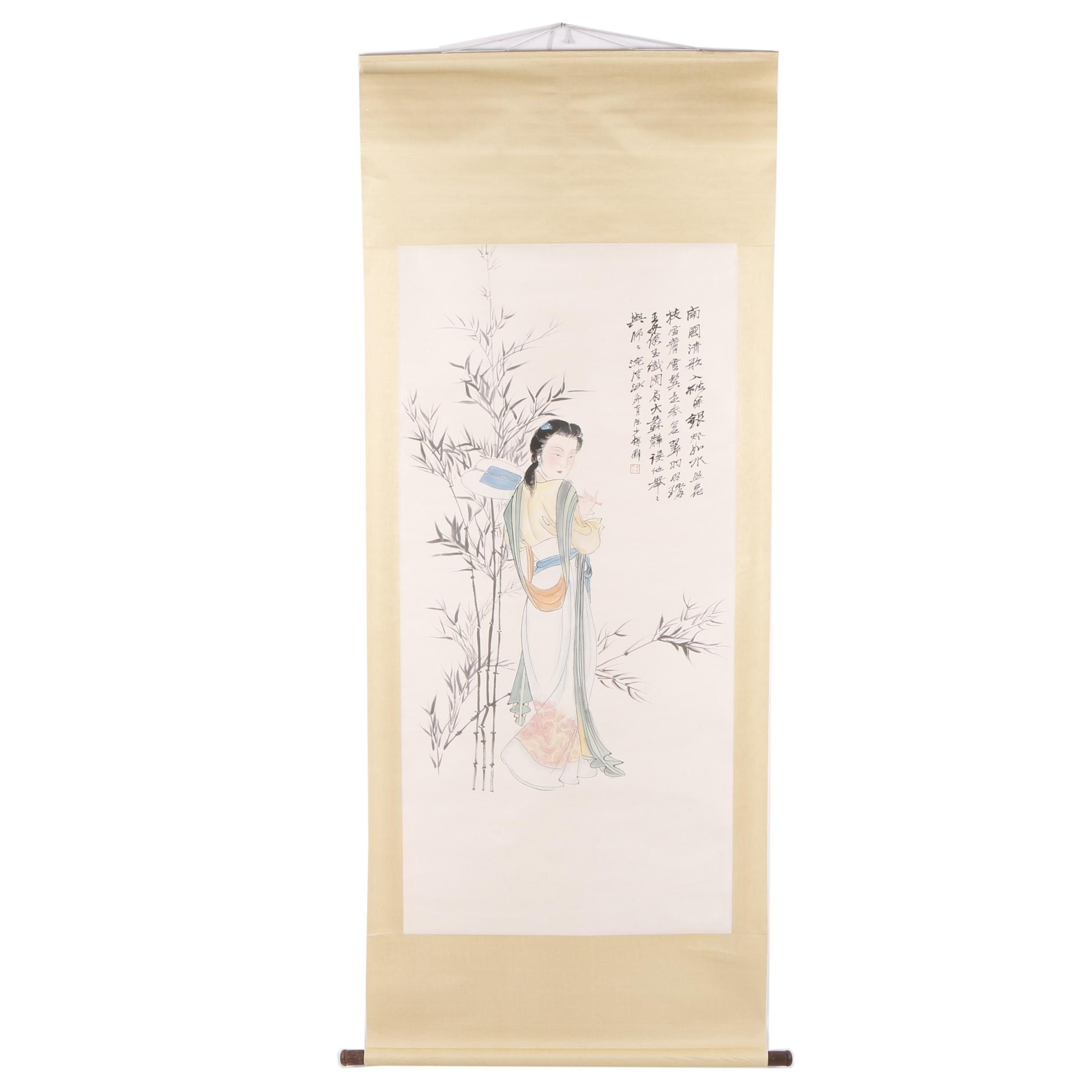 Chinese Gouache Hanging Scroll of a Woman
