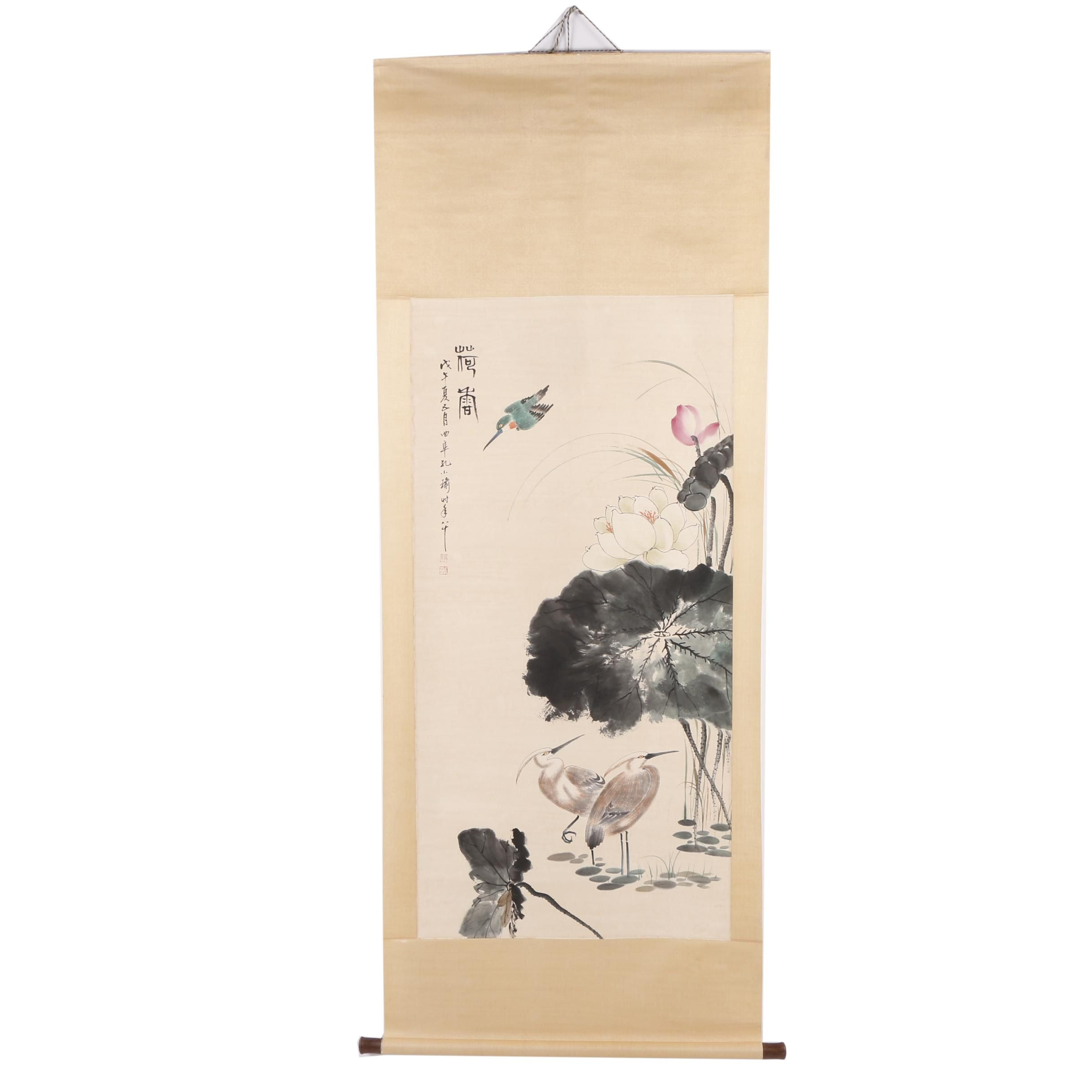 Chinese Gouache Hanging Scroll of Cranes and Lotus Flowers