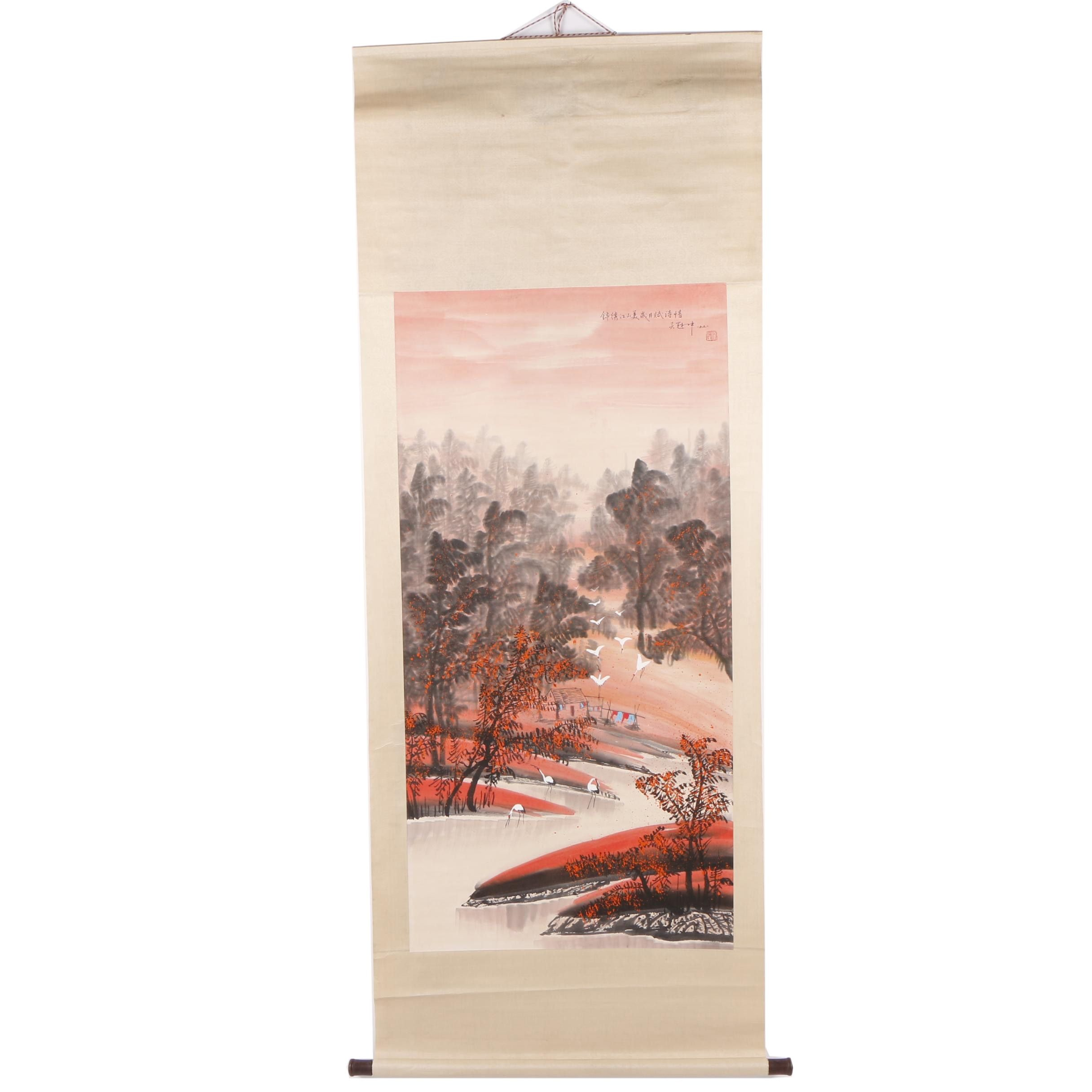 Chinese Gouache Hanging Scroll of River Landscape with Cranes