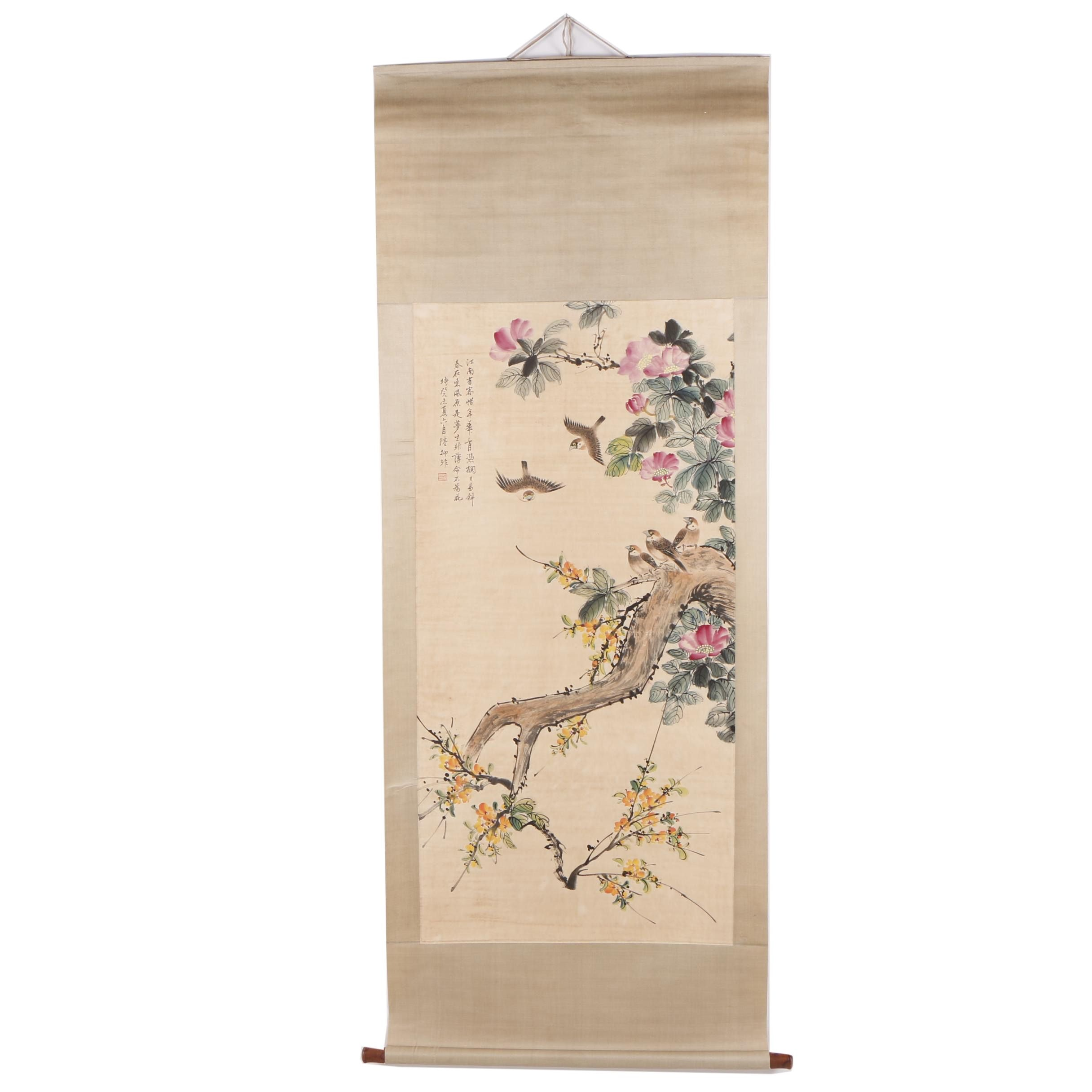 Chinese Gouache Hanging Scroll of Birds in Flowering Tree