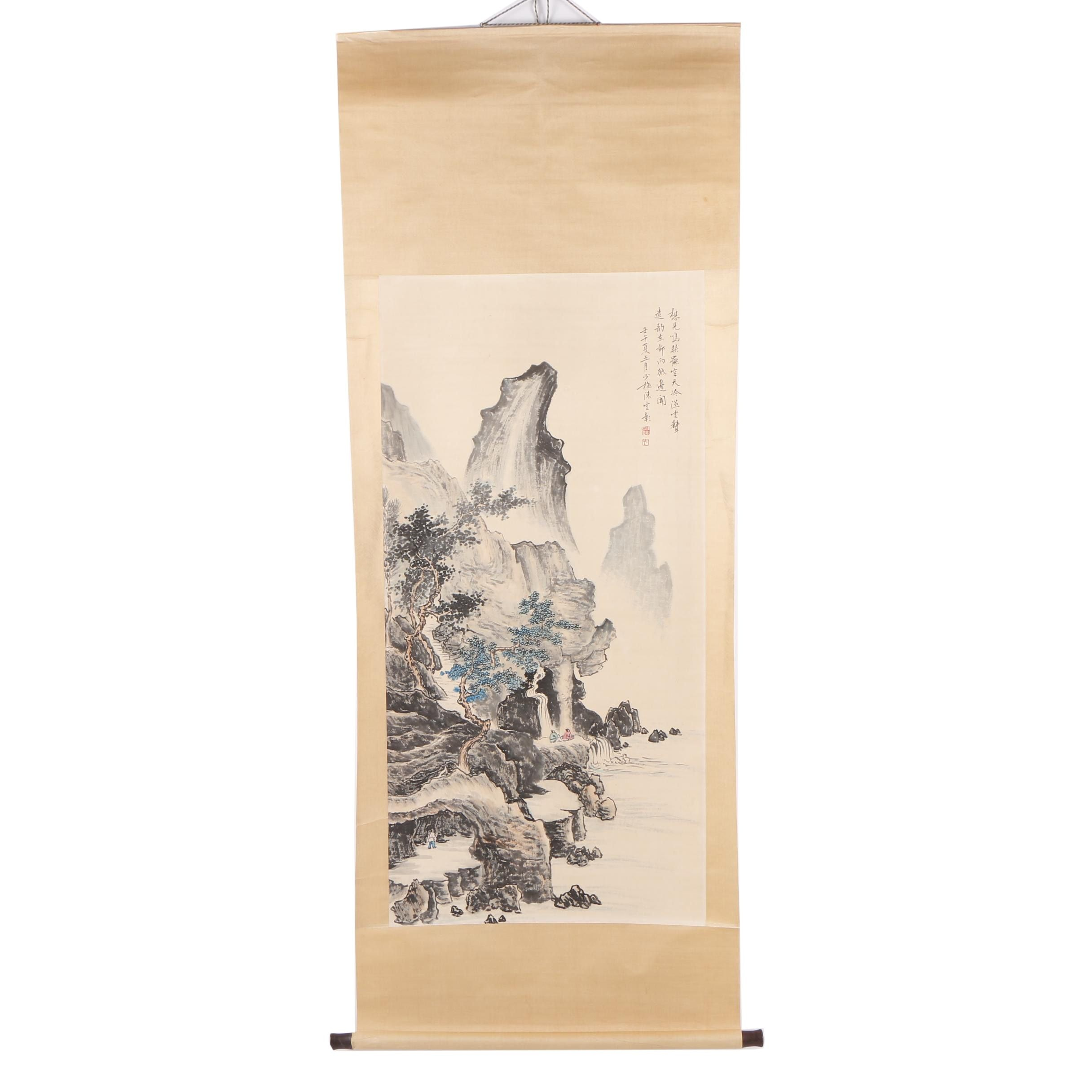 Chinese Gouache Landscape Hanging Scroll