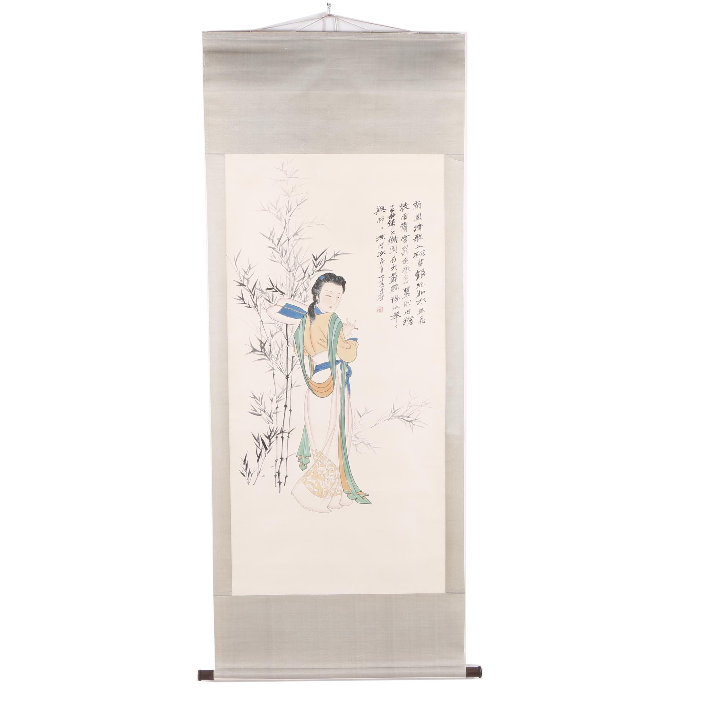 Chinese Gouache and Ink Hanging Scroll