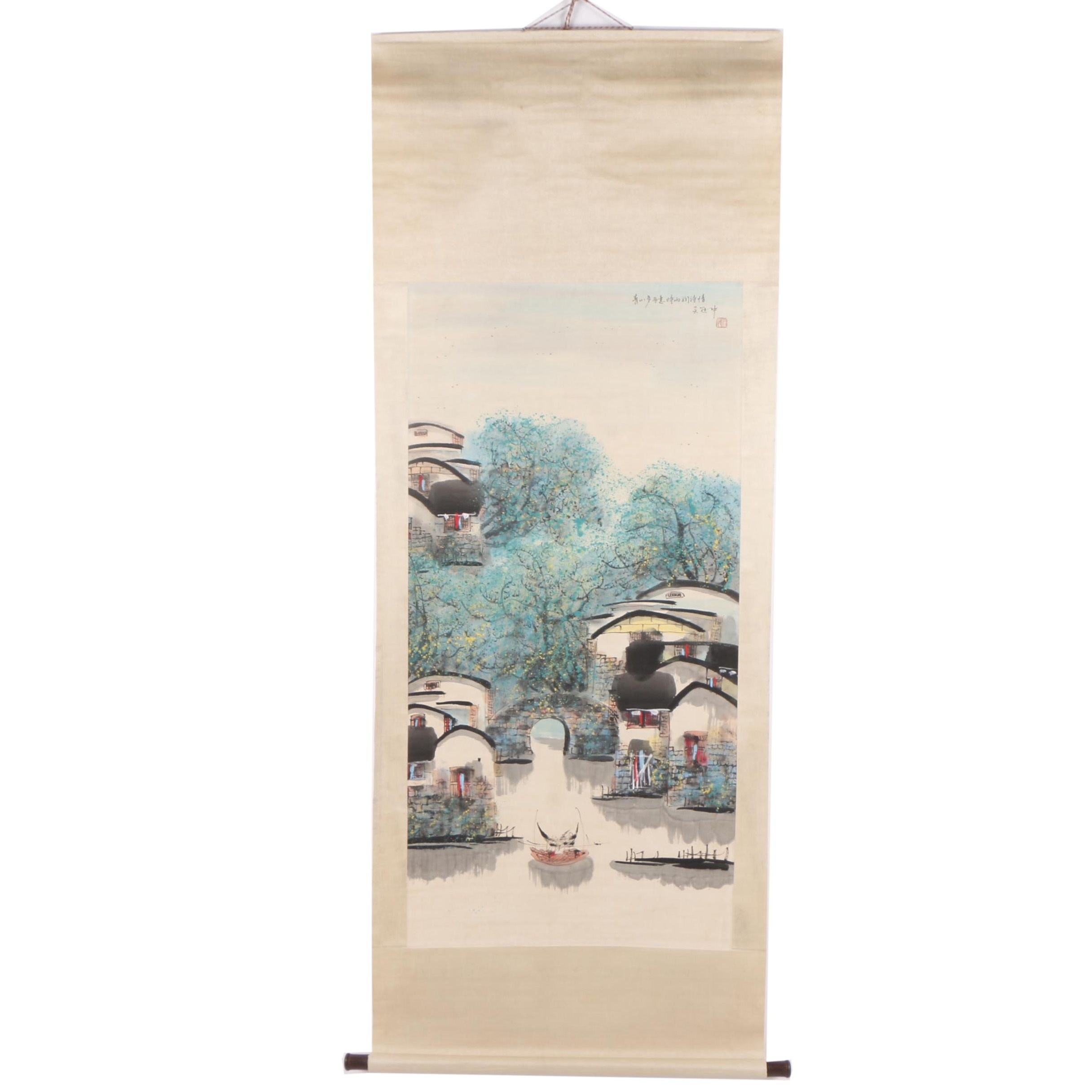 Chinese Gouache and Ink Painting on Hanging Scroll