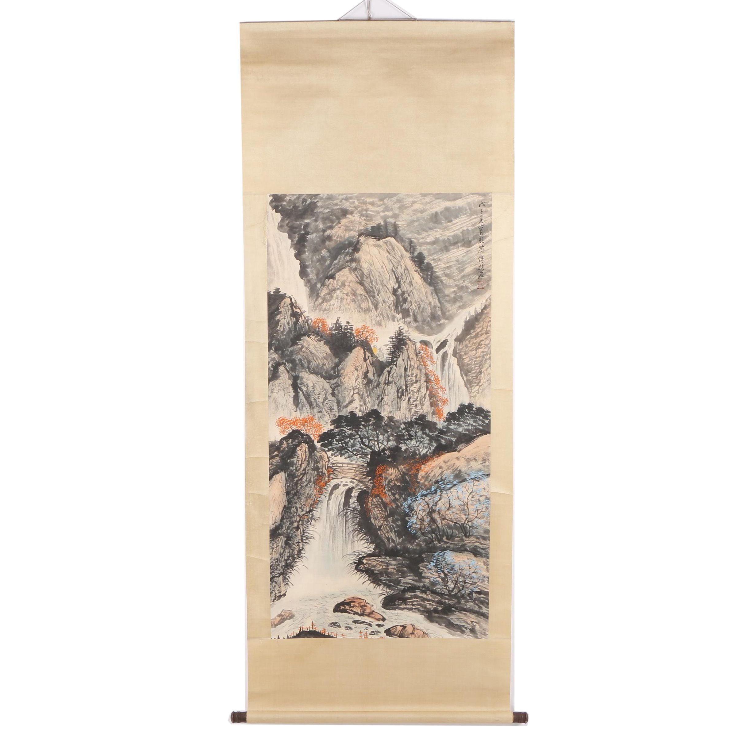 Chinese Gouache and Ink Hanging Scroll of Waterfall in Mountain Landscape