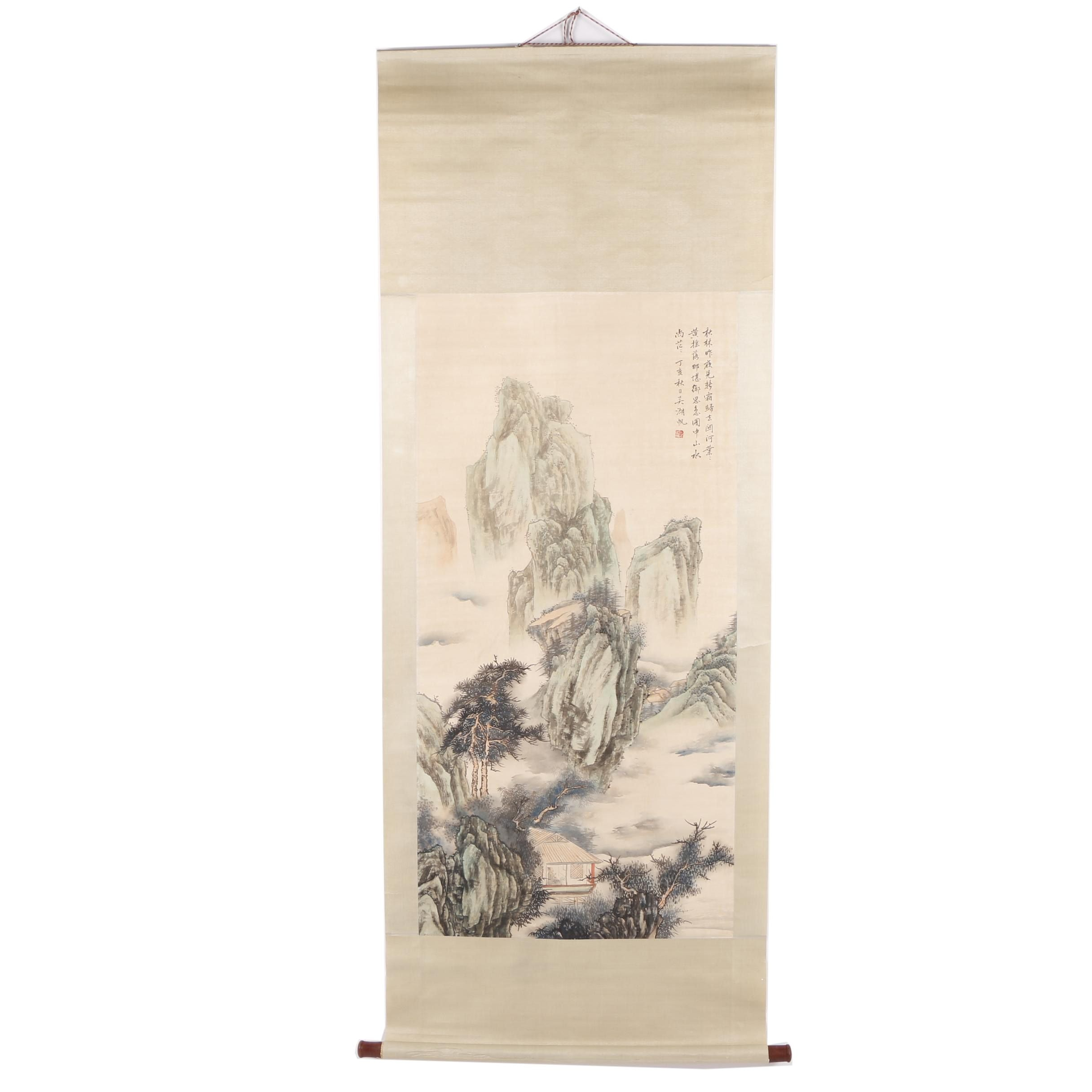 Chinese Landscape Painting on Hanging Scroll