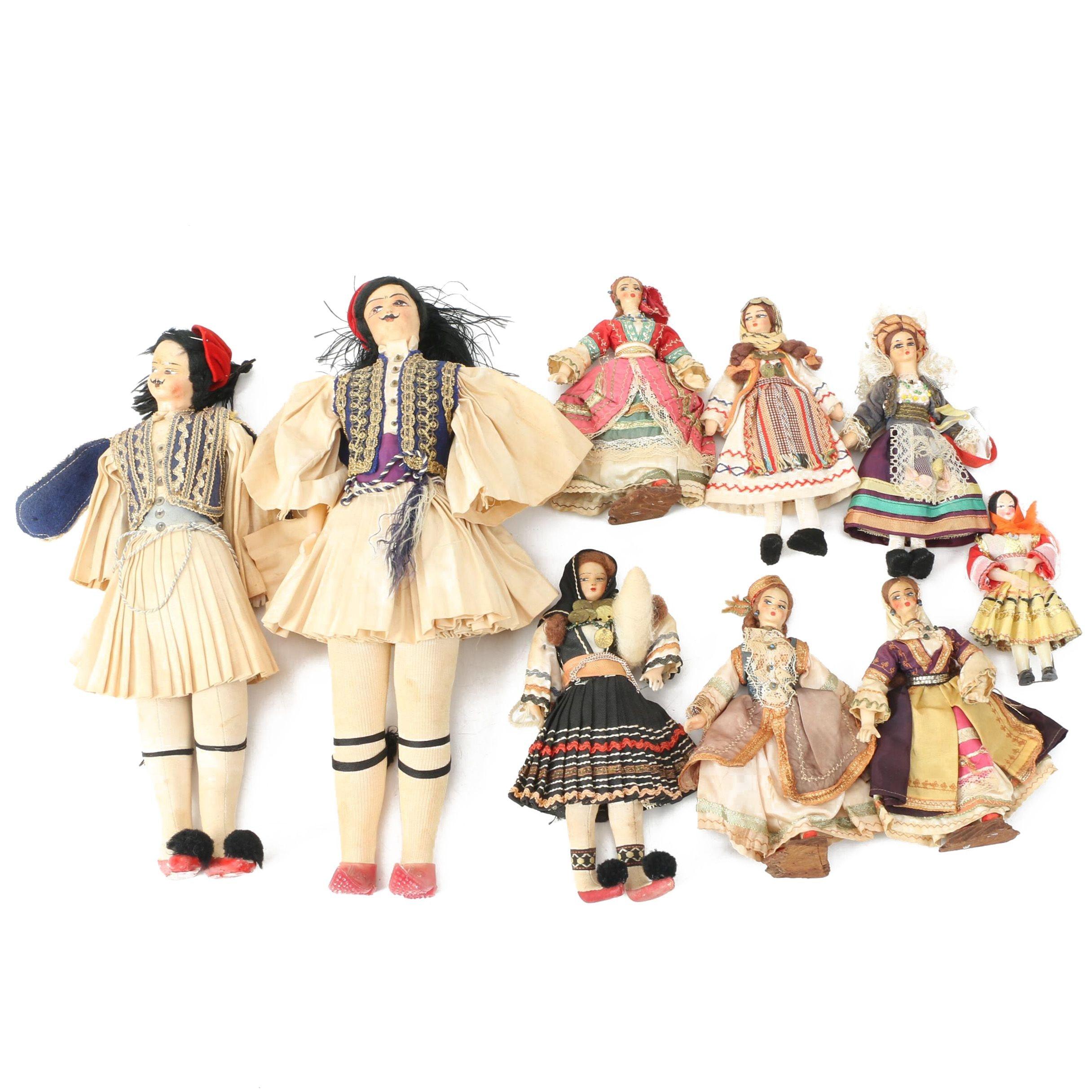 Romanian Cloth and Wood Folk Art Dolls