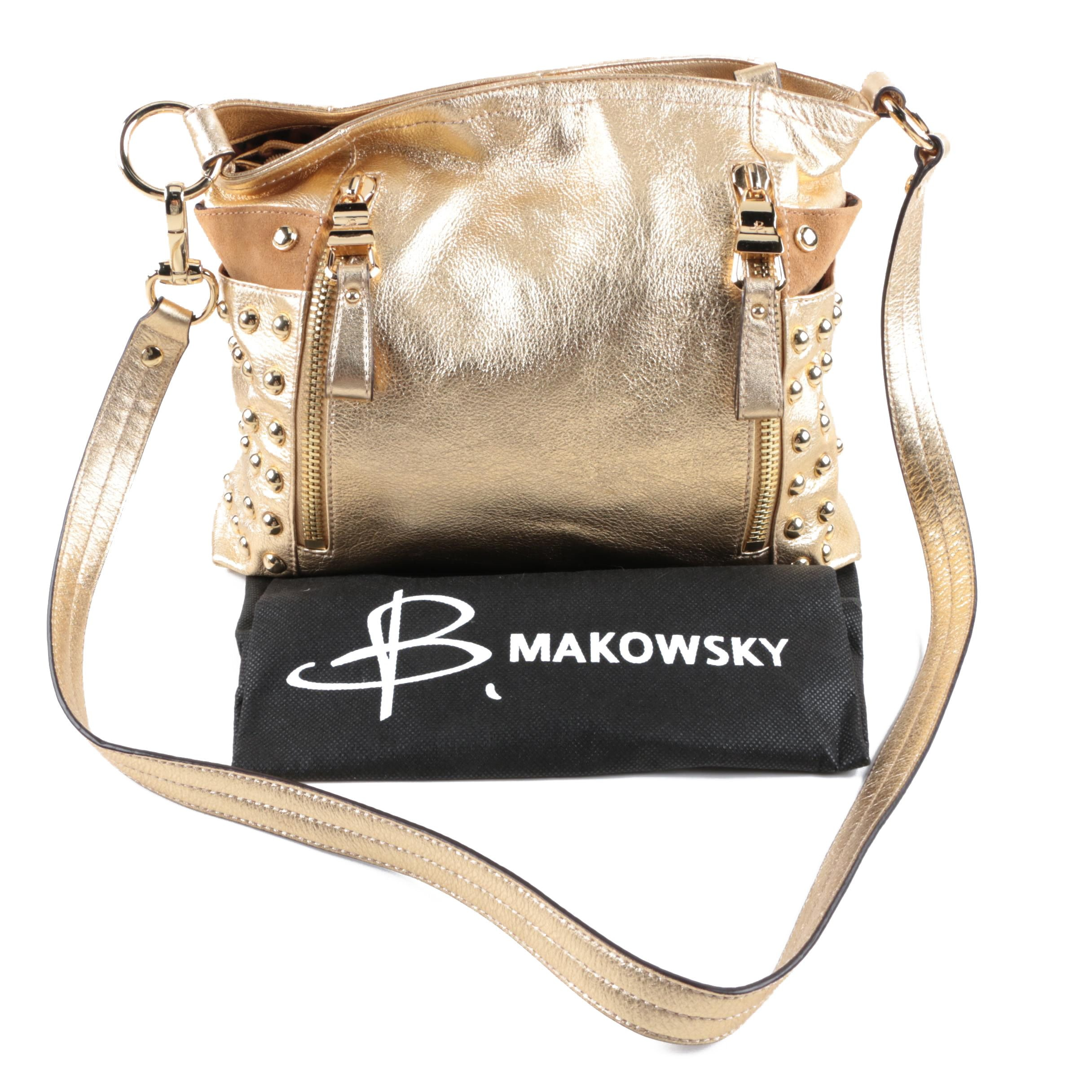 B. Makowsky Metallic Gold Leather Satchel