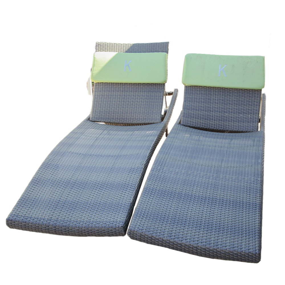 Two Reclining Wicker Lounge Chairs