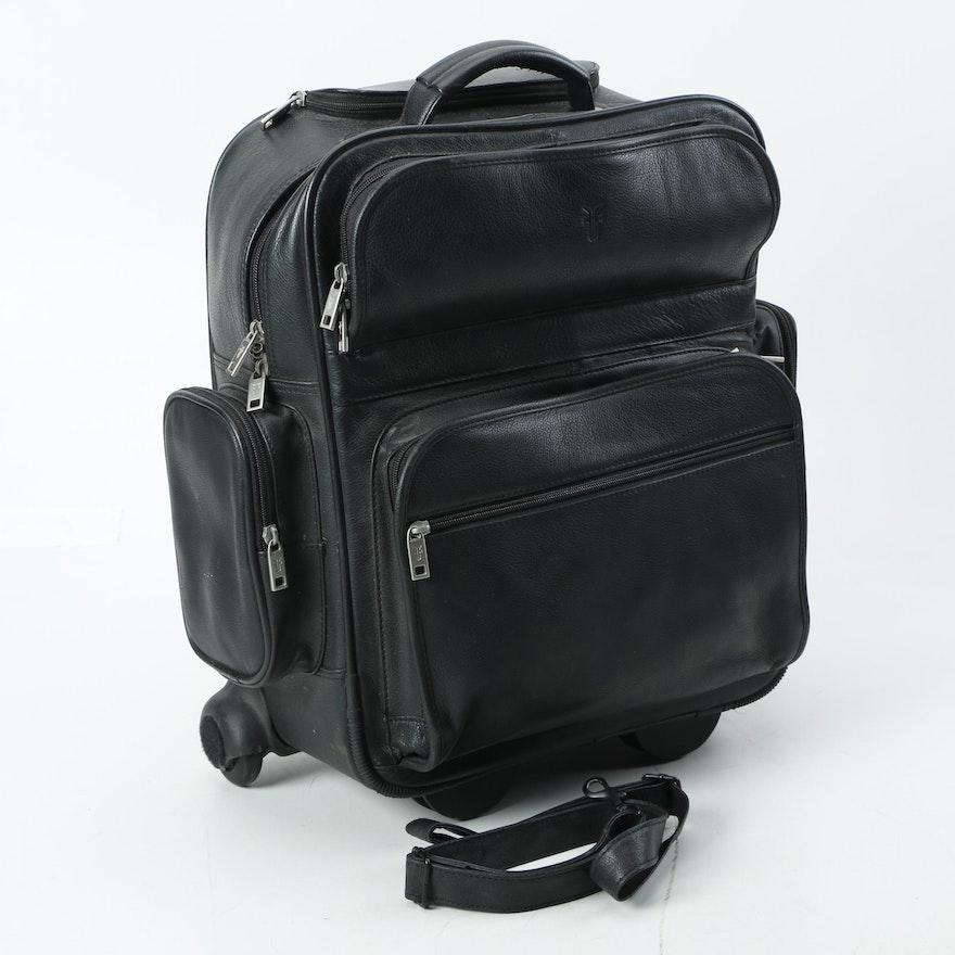 3ea52cd39792 Frye Black Leather Rolling Backpack Carry-On Bag   EBTH