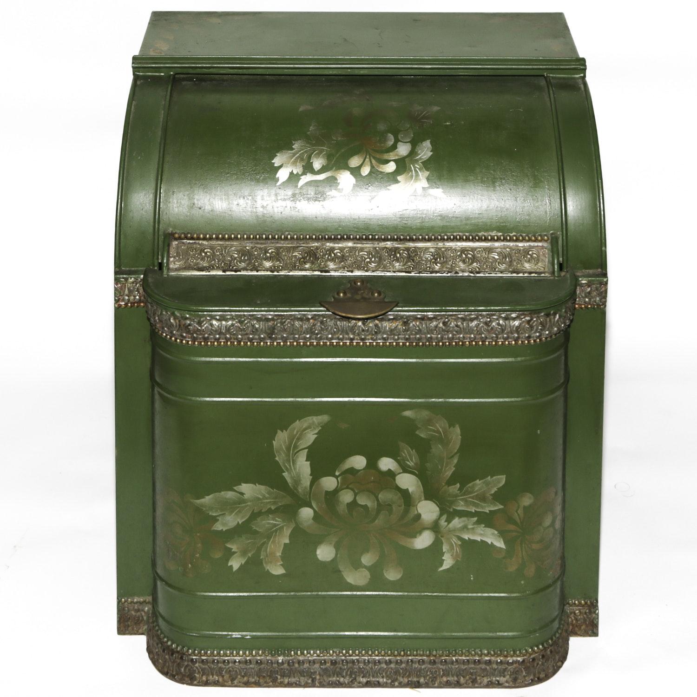Vintage Counter Display Tole Tea Bin with Embossed Trim
