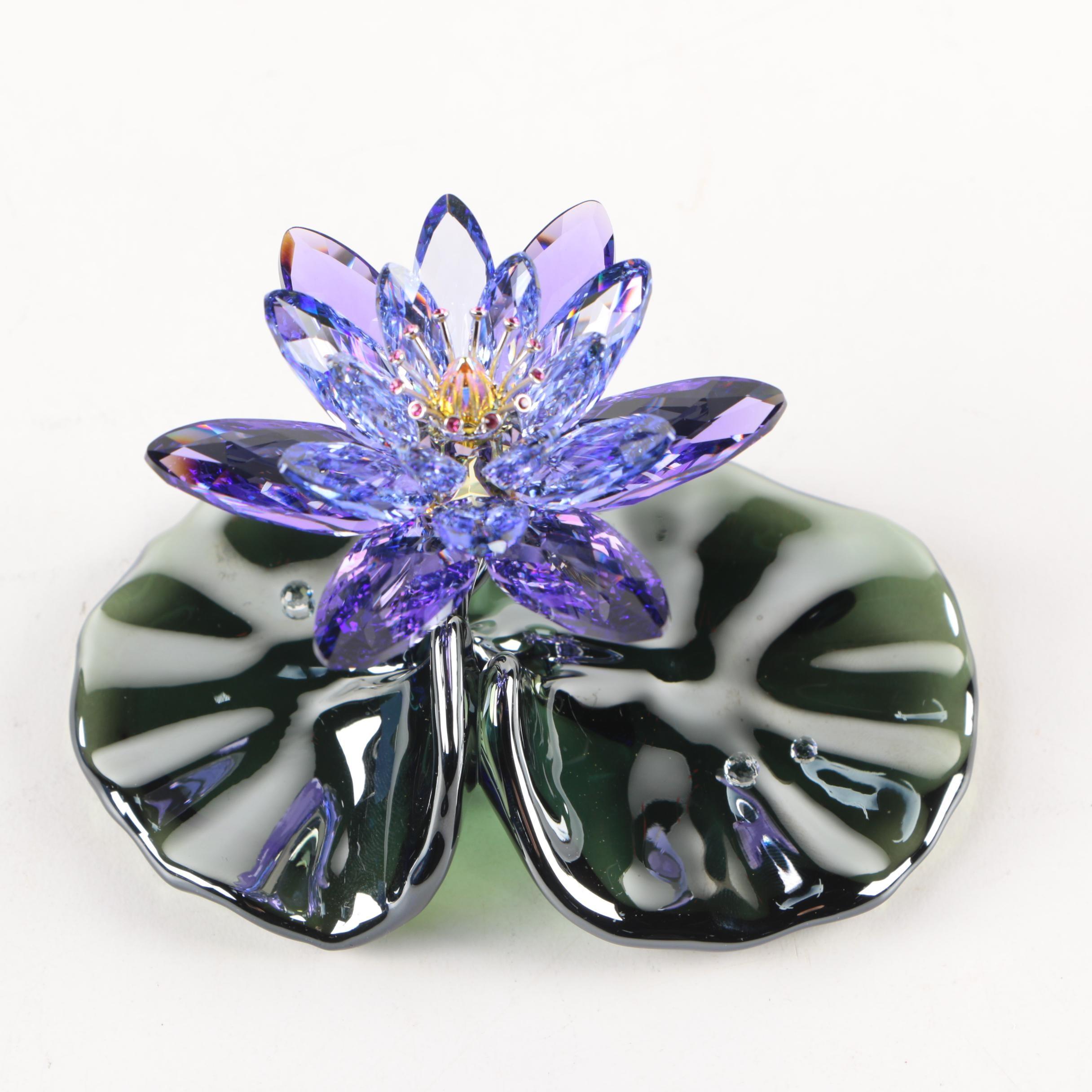 "Swarovski ""Waterlily Blue Violet"" Crystal Flower"